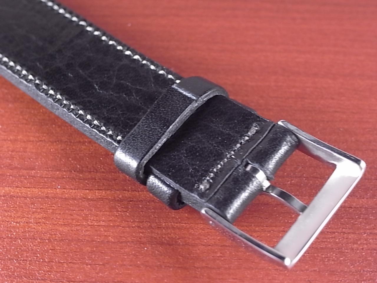 艶ありヌメ牛ステア 革ベルト ブラック 16、17、18、19、20、21、22mm CC-034aの写真4枚目