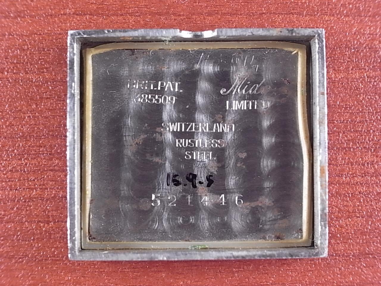 ミドー レクタンギュラ― 角型防水ケース グレーダイアル 1940年代の写真6枚目
