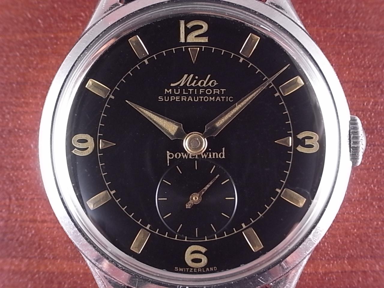 ミドー マルチフォート ブラックミラーダイアル 全回転ローター 1950年代の写真2枚目