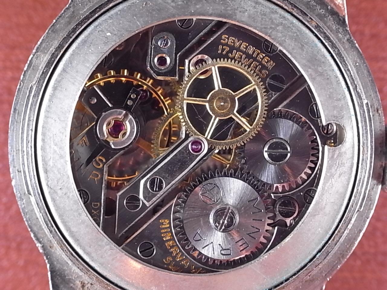 ミネルバ キャリバー49 ピンクダイアル ツイストバック 1940年代の写真5枚目