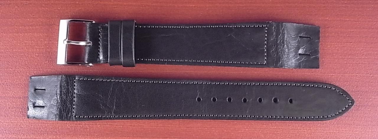 艶ありヌメ牛ステア オープンエンド 革ベルト ブラック 16、18mm CC-034b