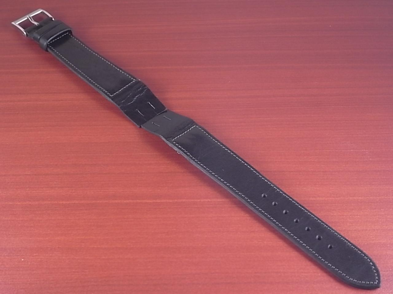 艶ありヌメ牛ステア オープンエンド 革ベルト ブラック 16、18mm CC-034bのメイン写真