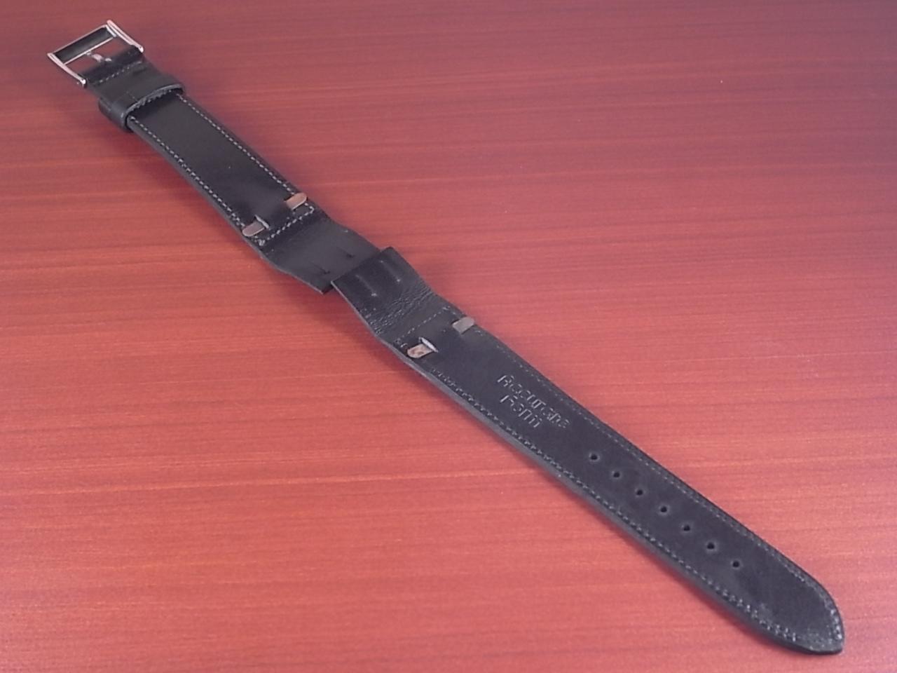 艶ありヌメ牛ステア オープンエンド 革ベルト ブラック 16、18mm CC-034bの写真2枚目