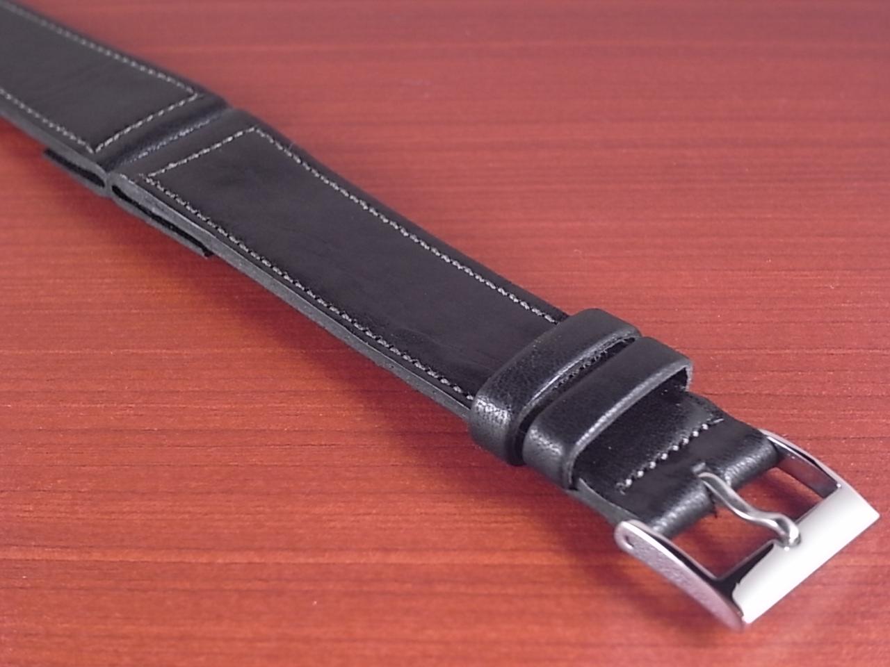 艶ありヌメ牛ステア オープンエンド 革ベルト ブラック 16、18mm CC-034bの写真6枚目