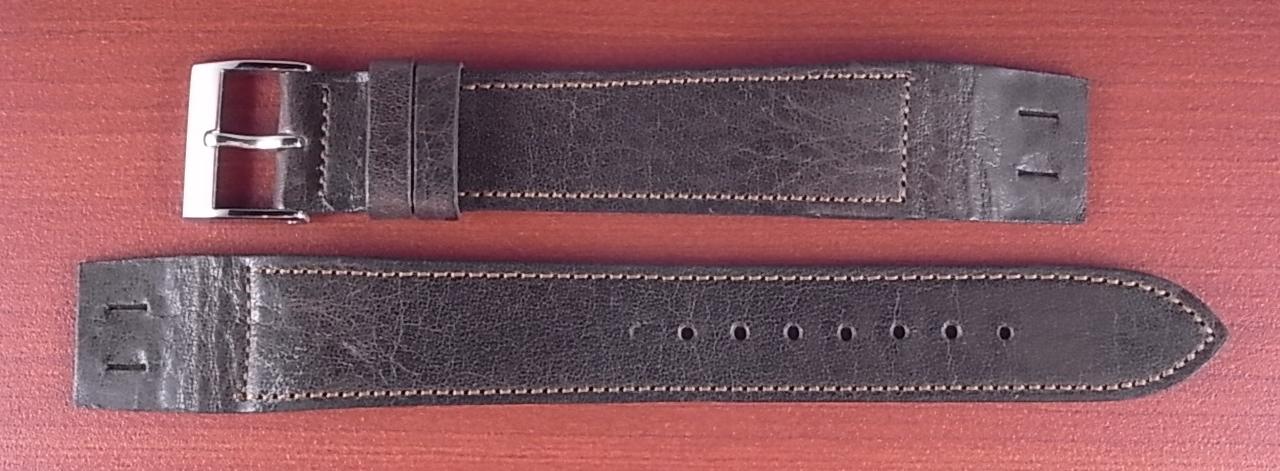 艶ありヌメ牛ステア オープンエンド 革ベルト ダークブラウン 16、18mm CC-035b