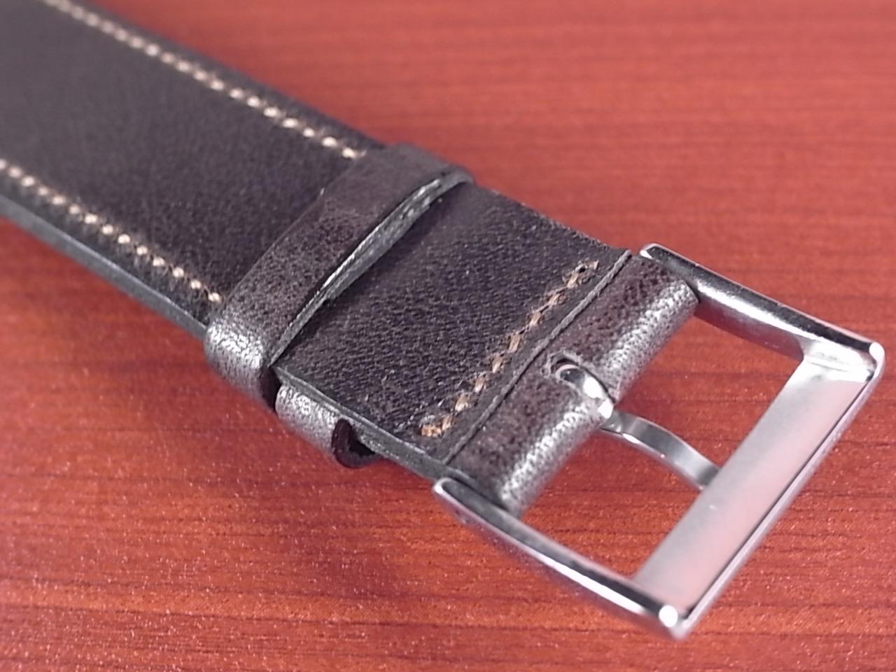 艶ありヌメ牛ステア オープンエンド 革ベルト ダークブラウン 16、18、20mm CC-035bの写真4枚目