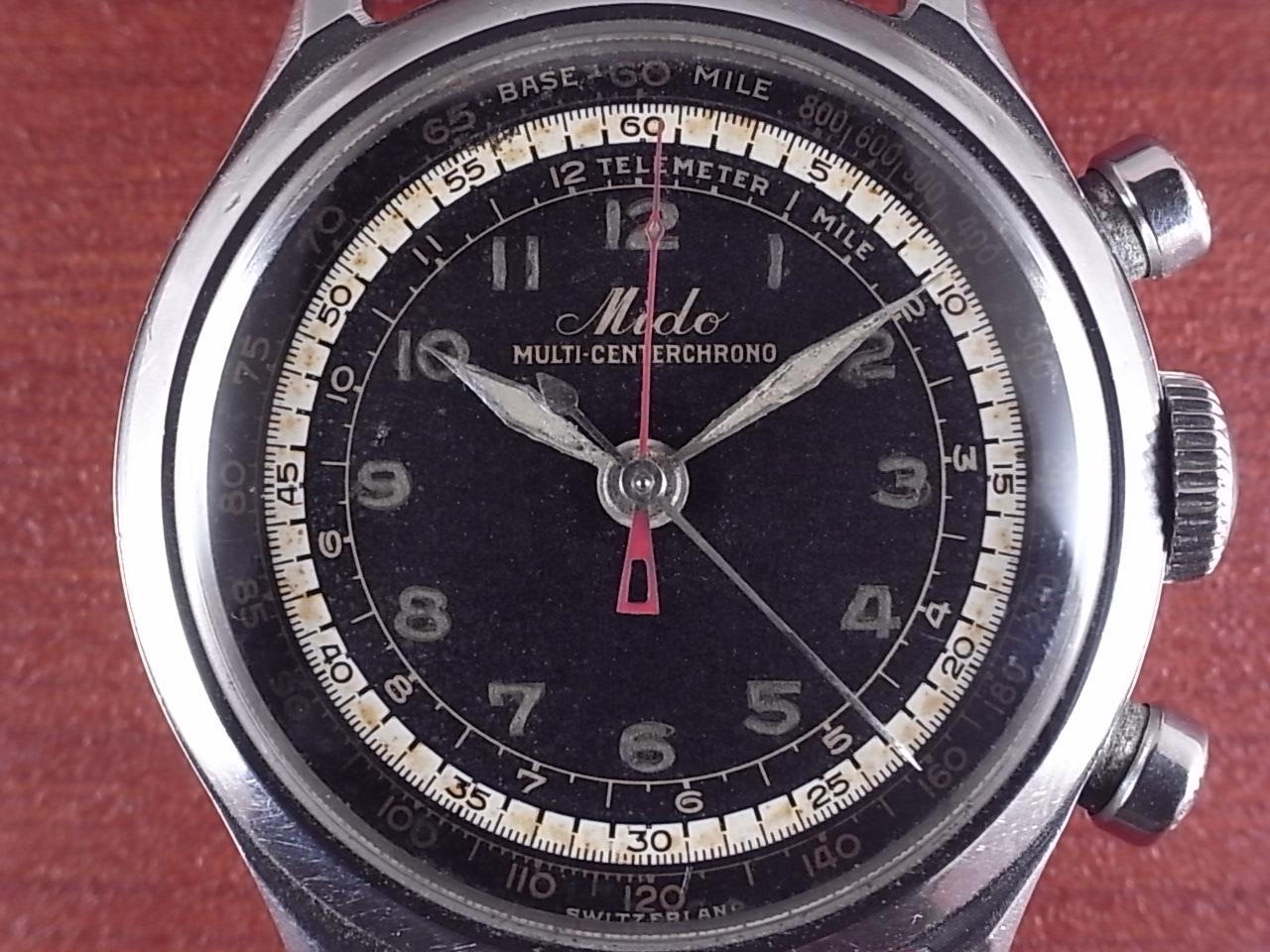 ミドー マルチセンタークロノ ブラックダイアル シースルーバック付き 1950年代の写真2枚目