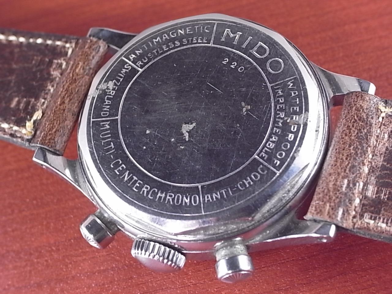 ミドー マルチセンタークロノ ブラックダイアル シースルーバック付き 1950年代の写真4枚目
