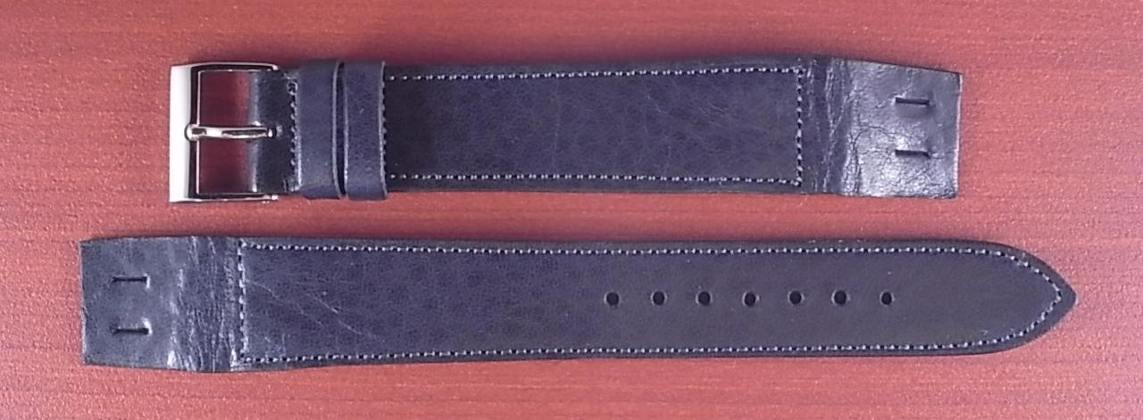 艶ありヌメ牛ステア オープンエンド 革ベルト ネイビー 16、18mm CC-037b