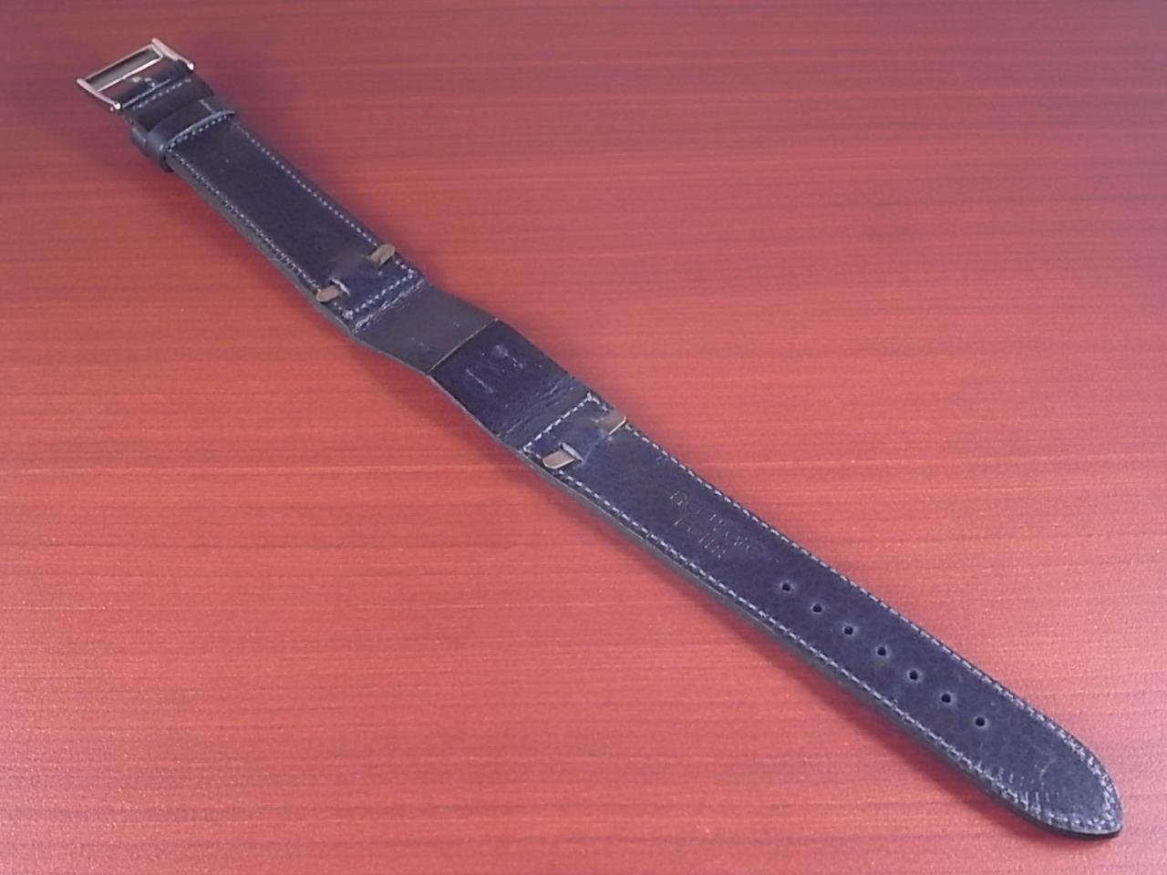 艶ありヌメ牛ステア オープンエンド 革ベルト ネイビー 16、18、20mm CC-037bの写真2枚目