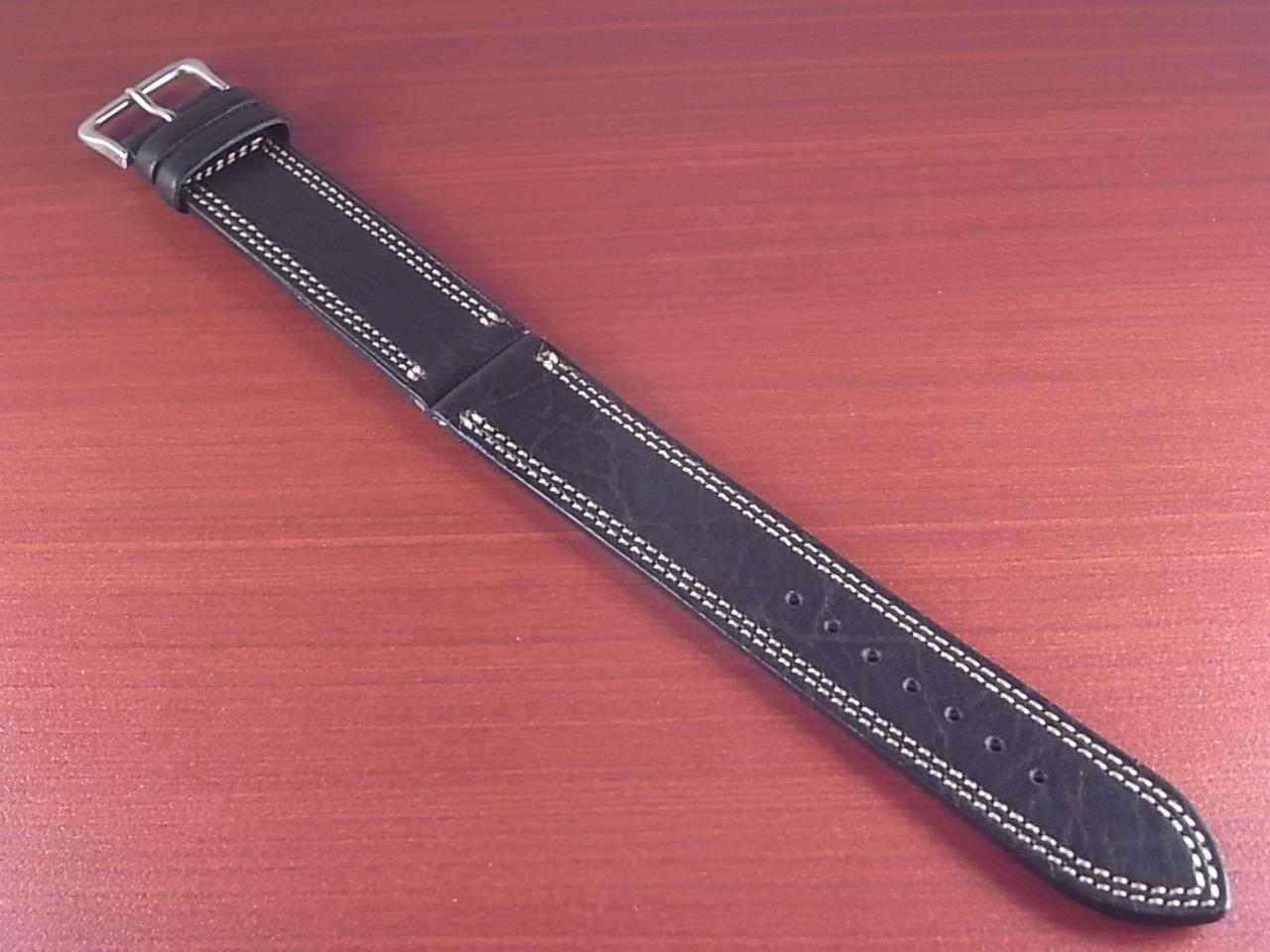 ホースハイド 革ベルト  Wステッチ ブラック 18、20mmのメイン写真