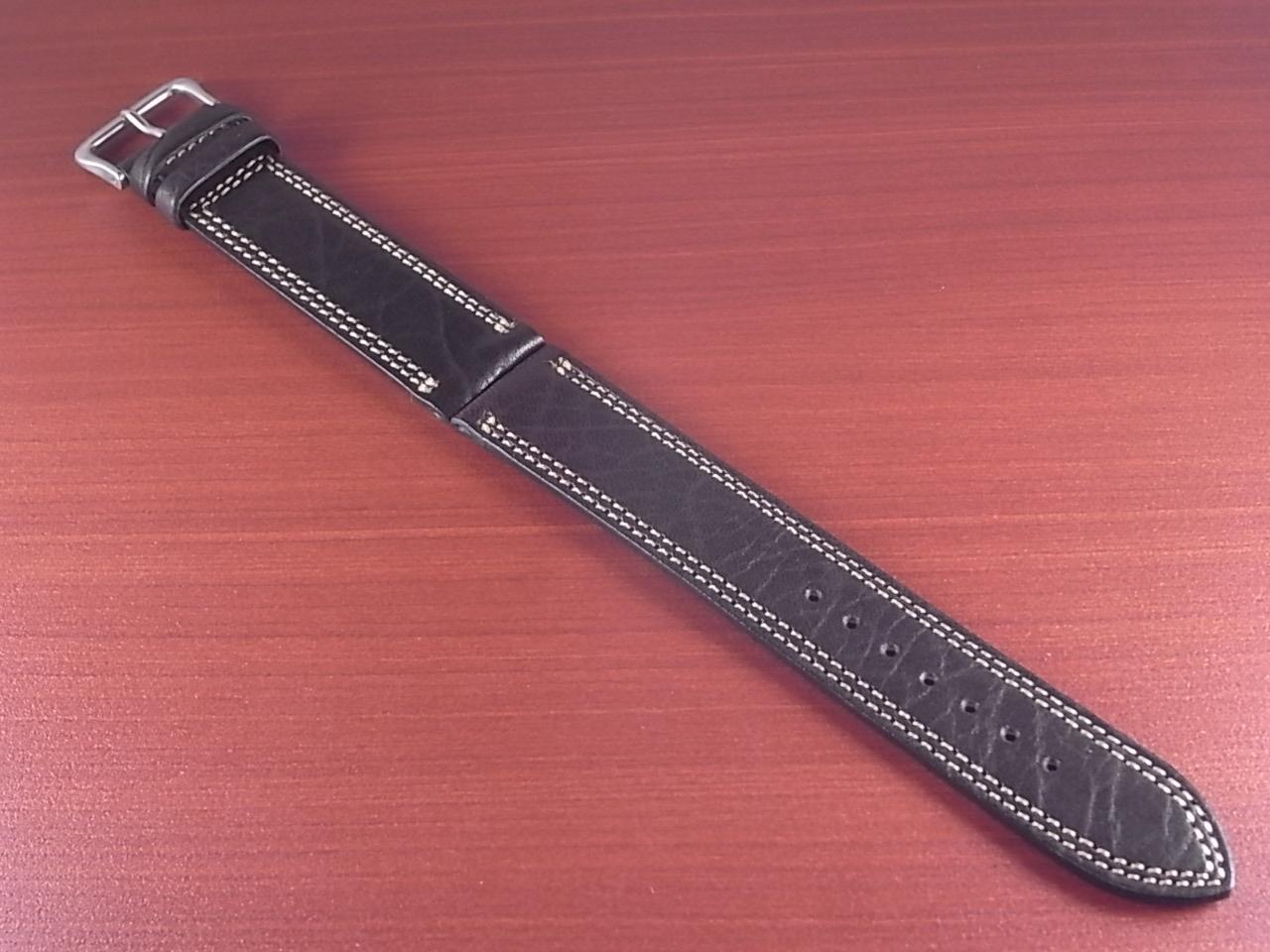 ホースハイド 革ベルト  Wステッチ ダークブラウン 18、20mmのメイン写真