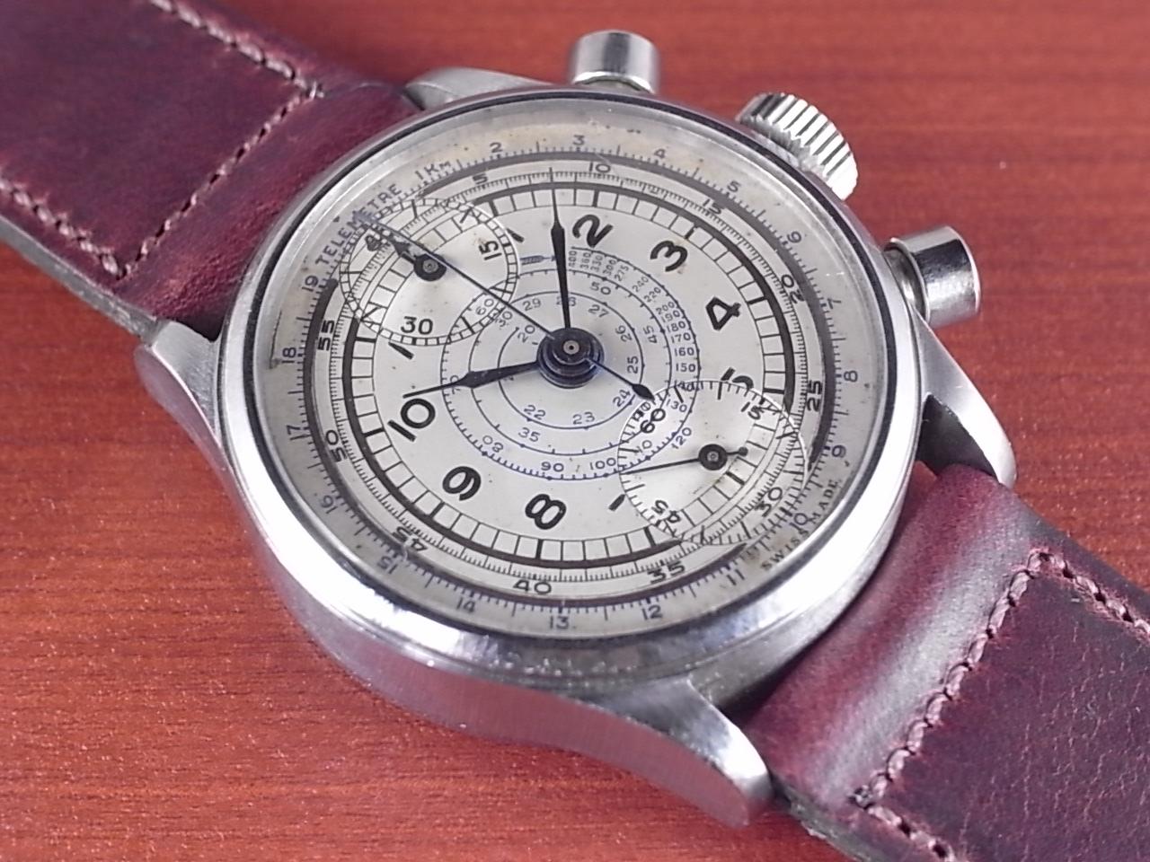 ノーブランド 縦目クロノグラフ ヴィーナス170 ホワイトダイアル 1940年代のメイン写真