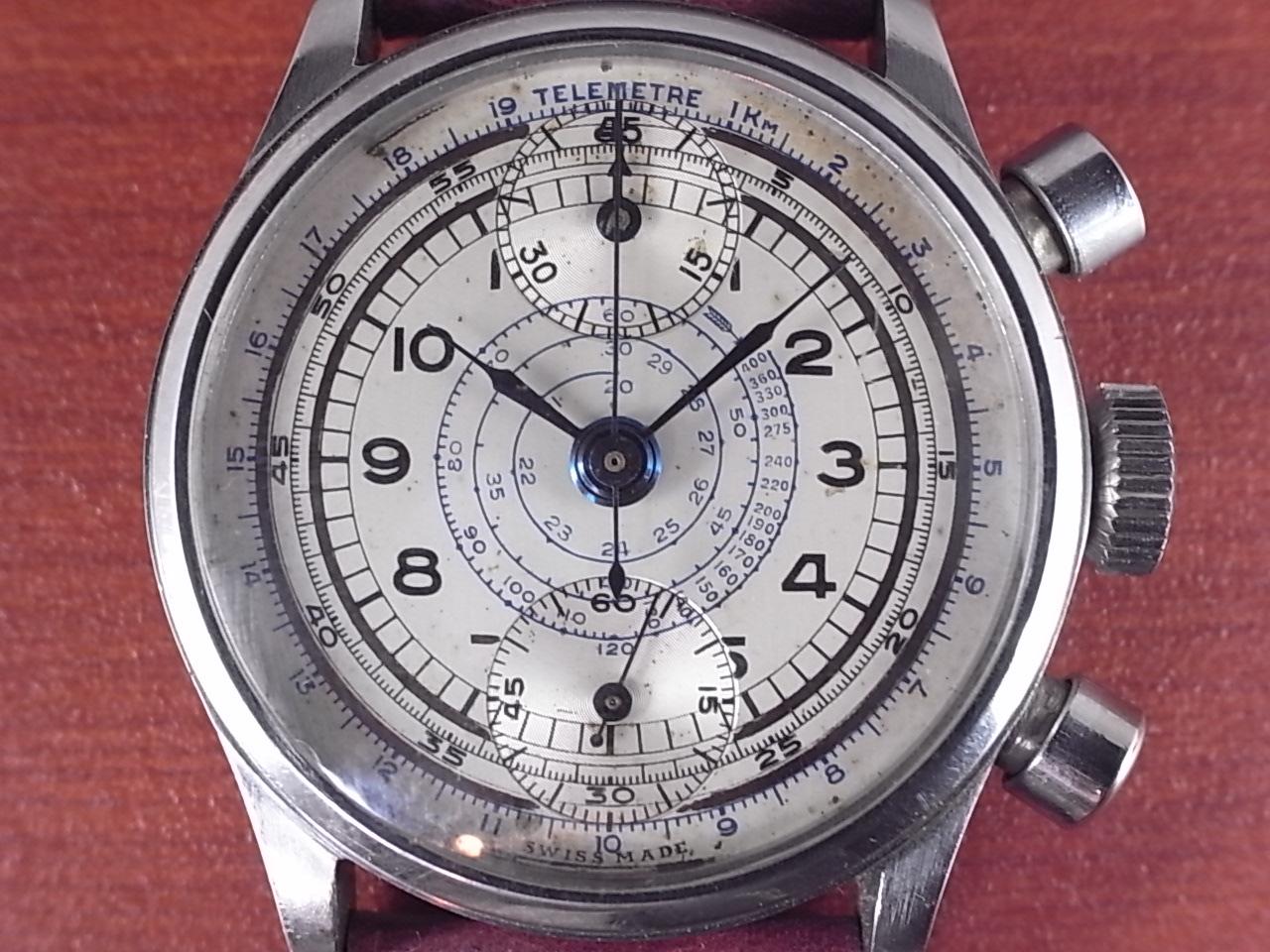 ノーブランド 縦目クロノグラフ ヴィーナス170 ホワイトダイアル 1940年代の写真2枚目