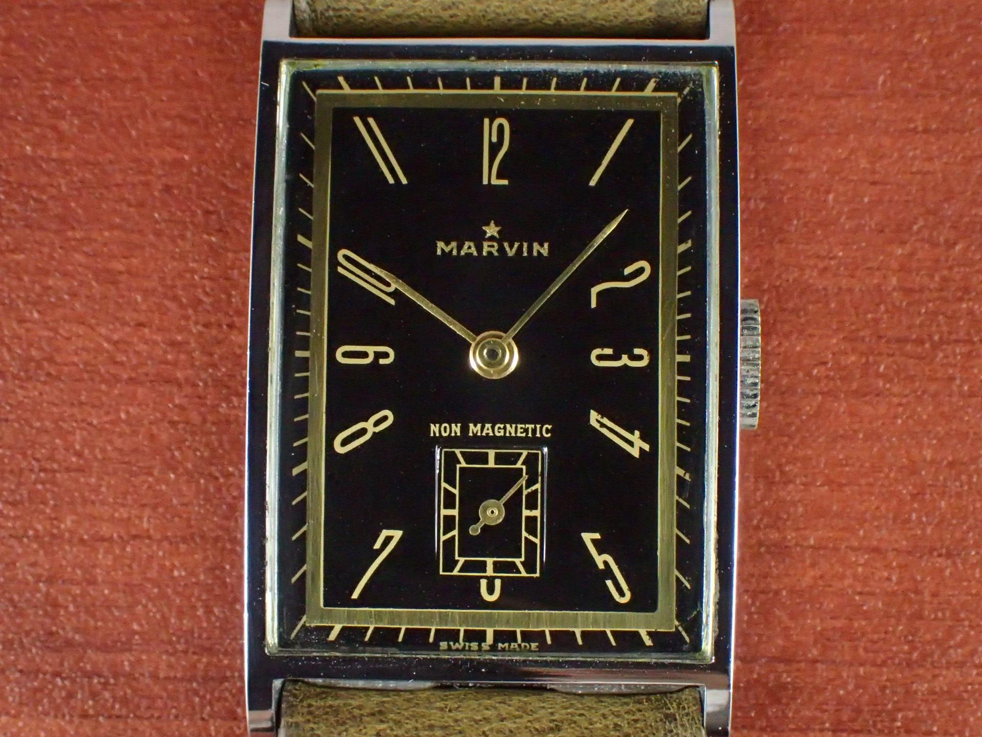 マーヴィン レクタンギュラー ブラックミラーダイアル 1930年代の写真2枚目
