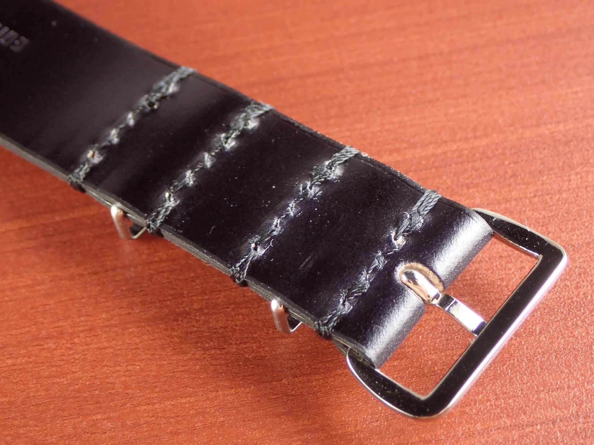 N.ハリウッド×キュリオスキュリオ コラボNATOコードバン革ベルト  ブラックの写真5枚目