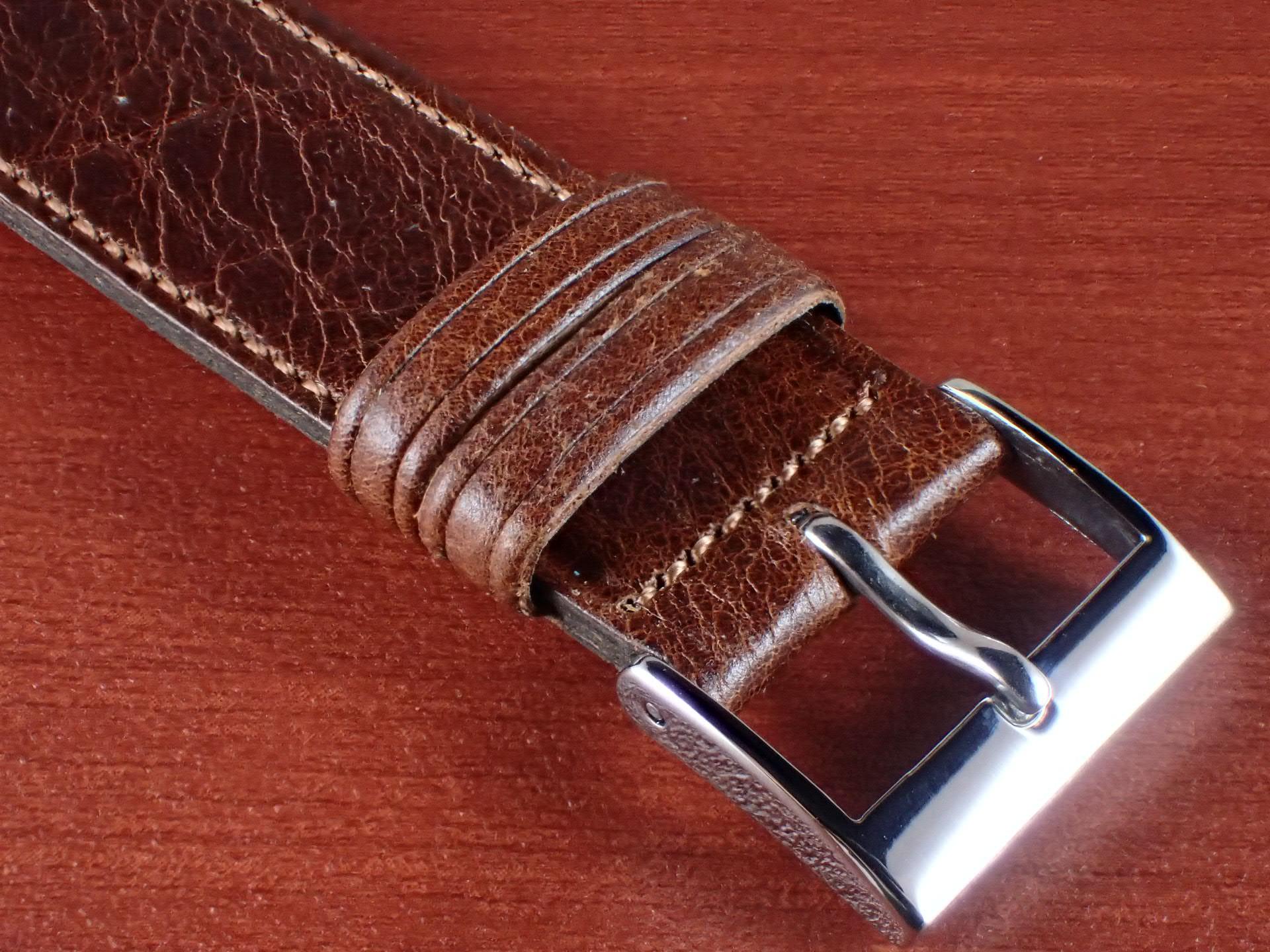 ヴィンテージレザー 牛革ベルト ブラウン 16mmの写真3枚目