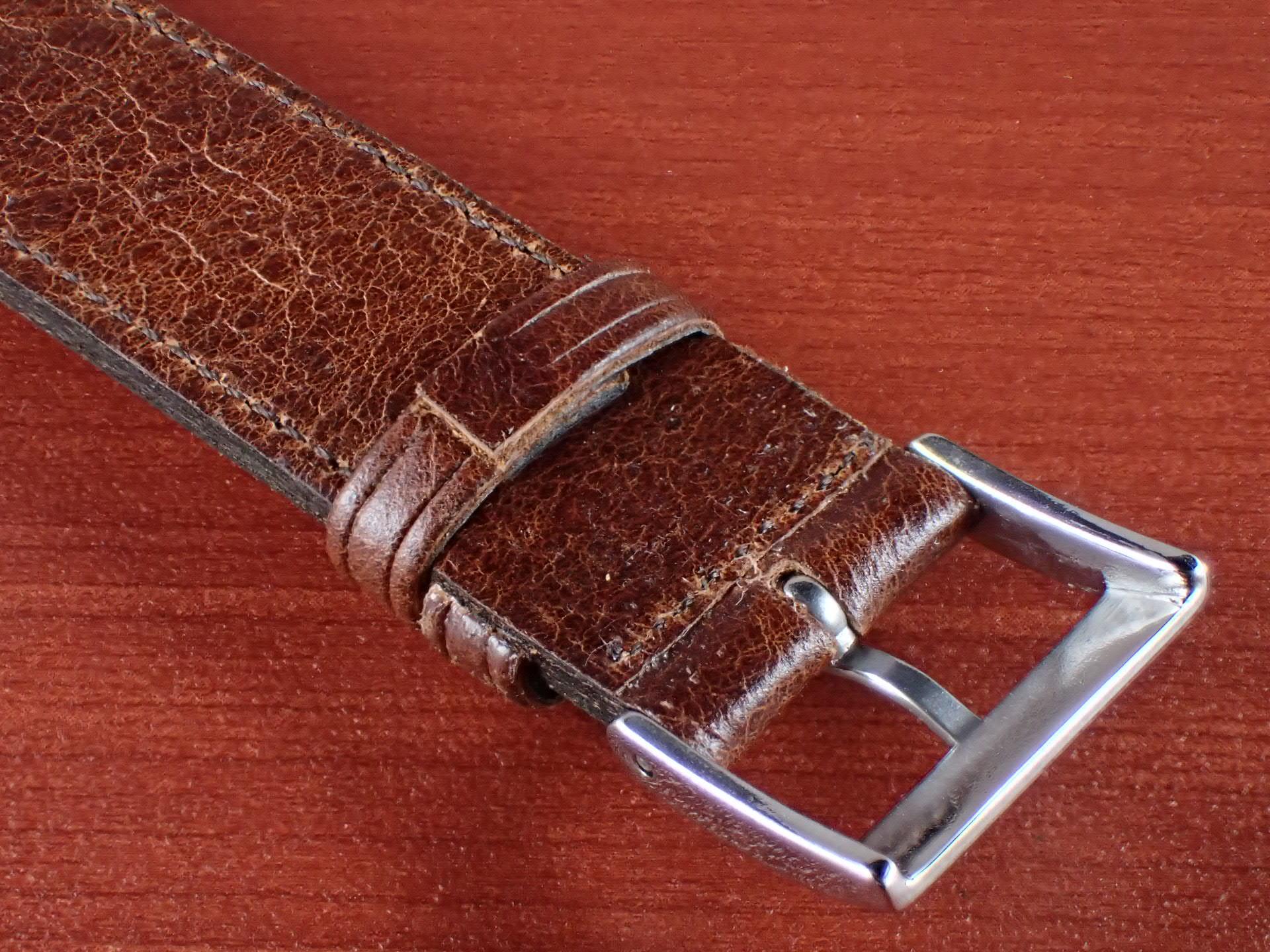 ヴィンテージレザー 牛革ベルト ブラウン 16mmの写真4枚目