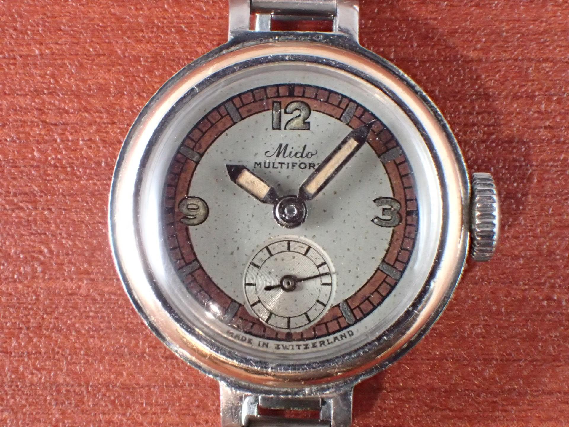 ミドー マルチフォート レディース セクターダイアル ボンクリップ付き 1930年代の写真2枚目