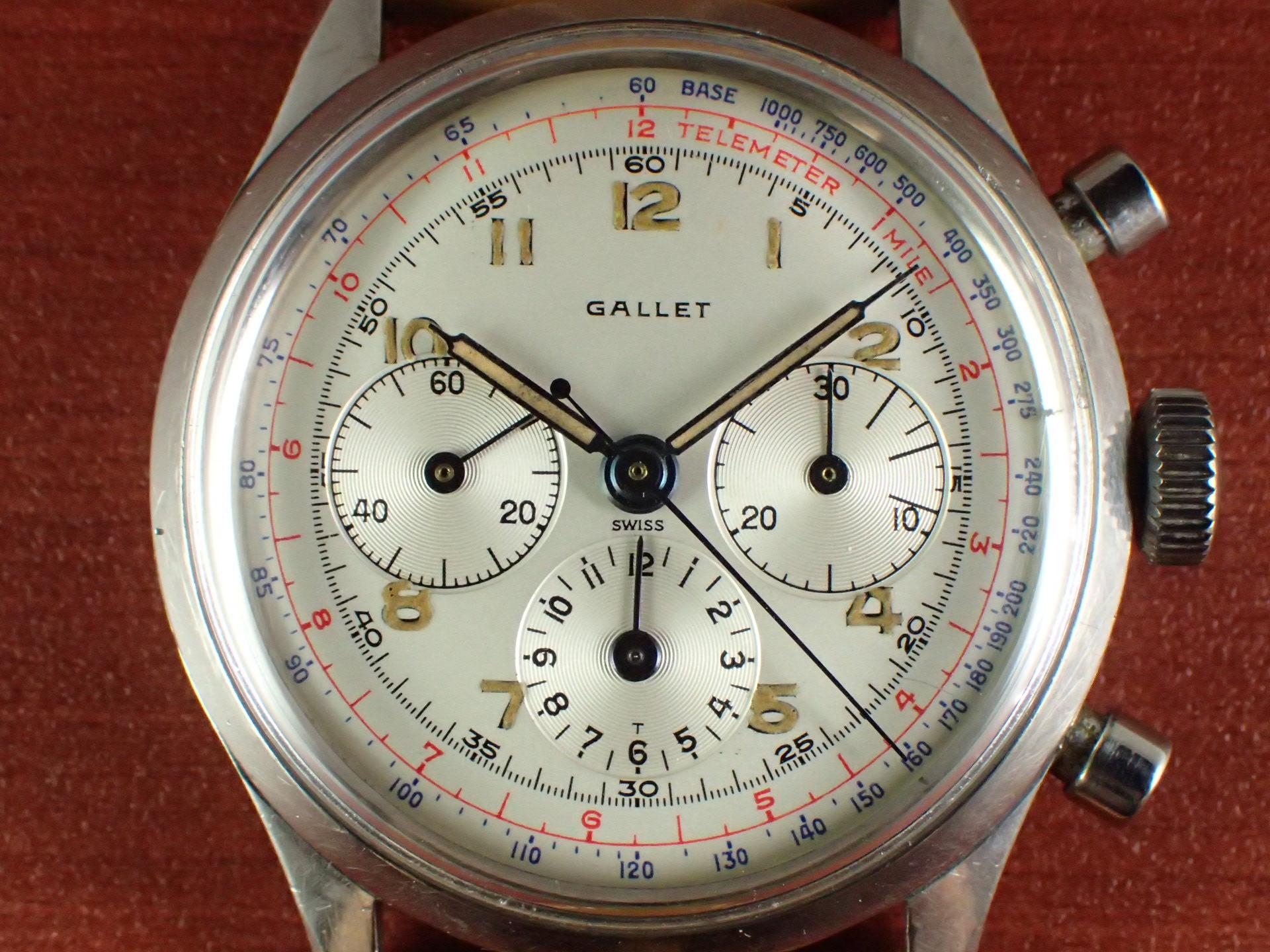 ギャレット クロノグラフ エクセルシオパーク40-68 ホワイトダイアル 1960年代の写真2枚目