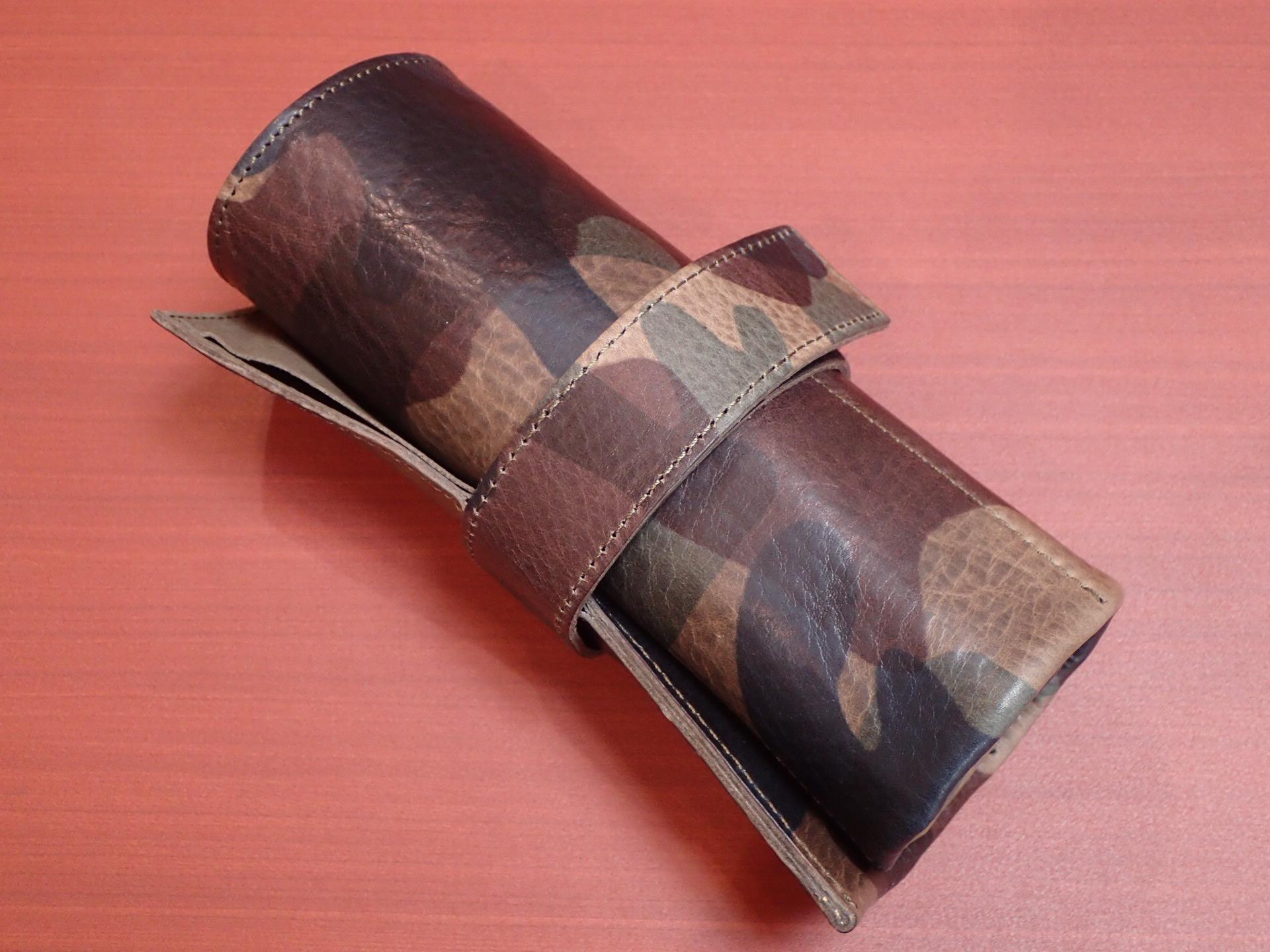 本革6本入り 携帯時計ケース 牛革 カモフラ グリーンのメイン写真