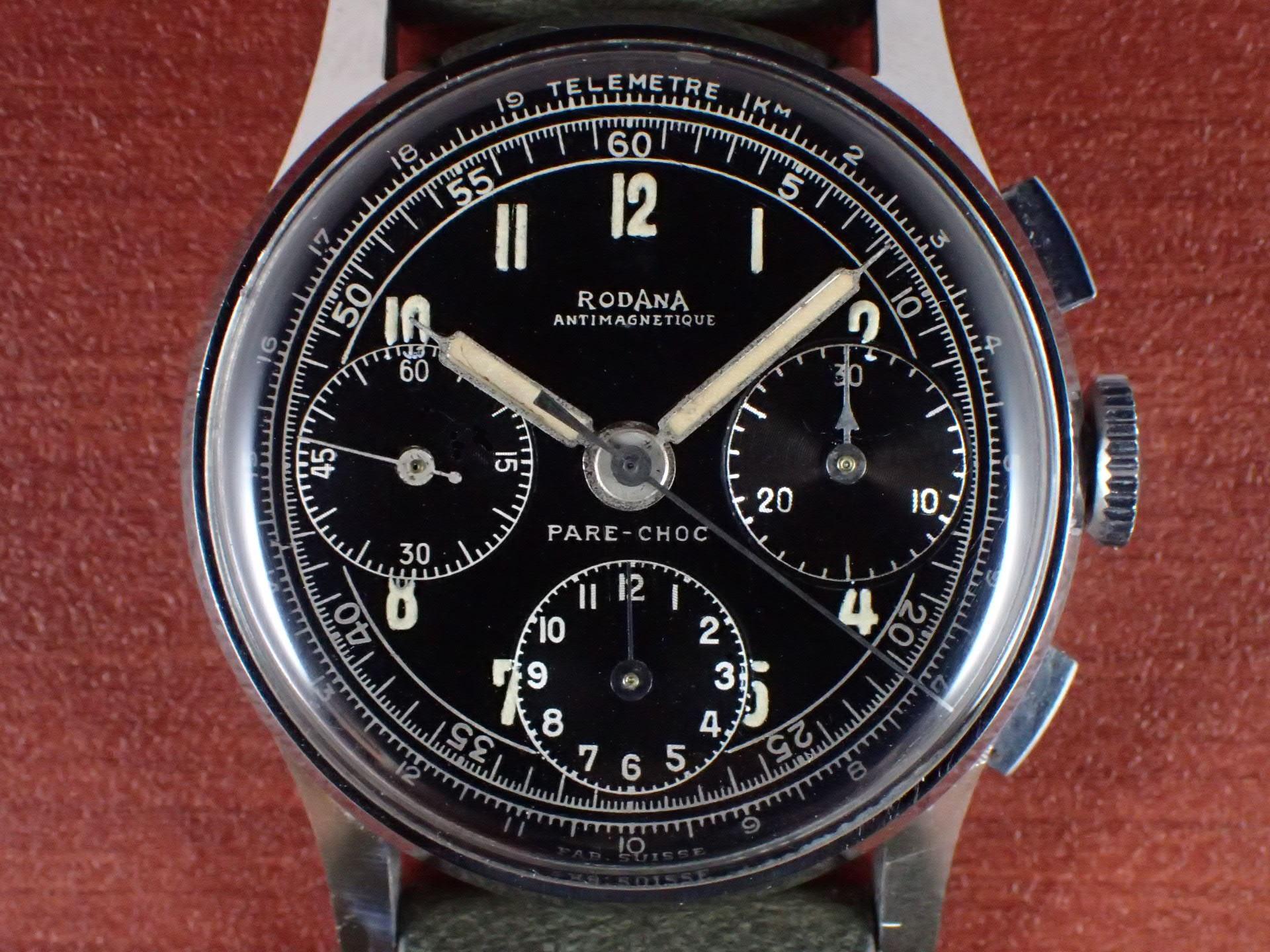 ロダーナ クロノグラフ Cal.Valjoux72 ブラックミラーダイアル 1940年代の写真2枚目