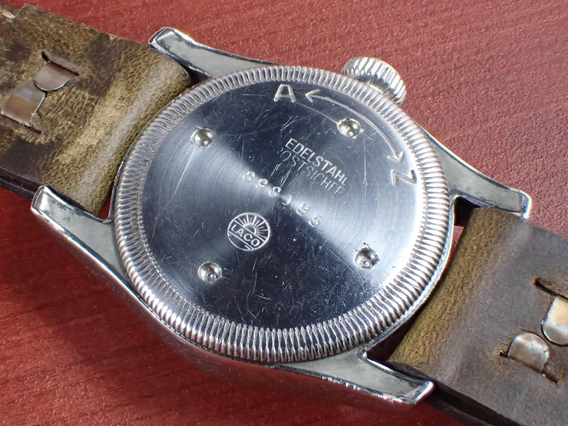 ラコ ブラックミラーダイアル ボーイズサイズ 防水ケース 1940年代の写真4枚目
