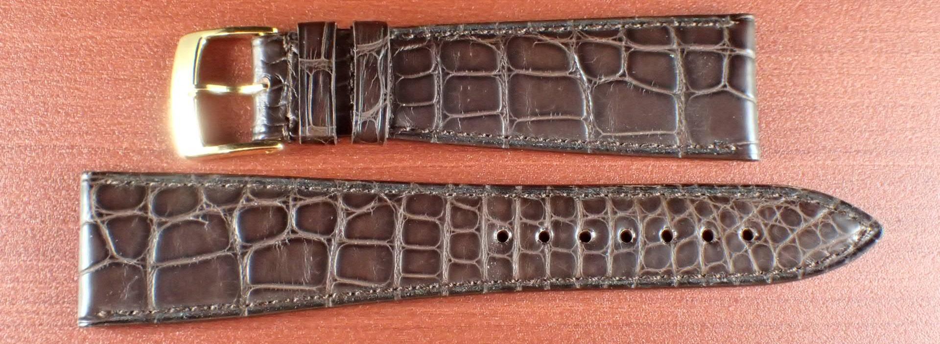 ジャン・クロード ペラン革ベルト(オールドペラン)クロコダイル ダークブラウン 22mm