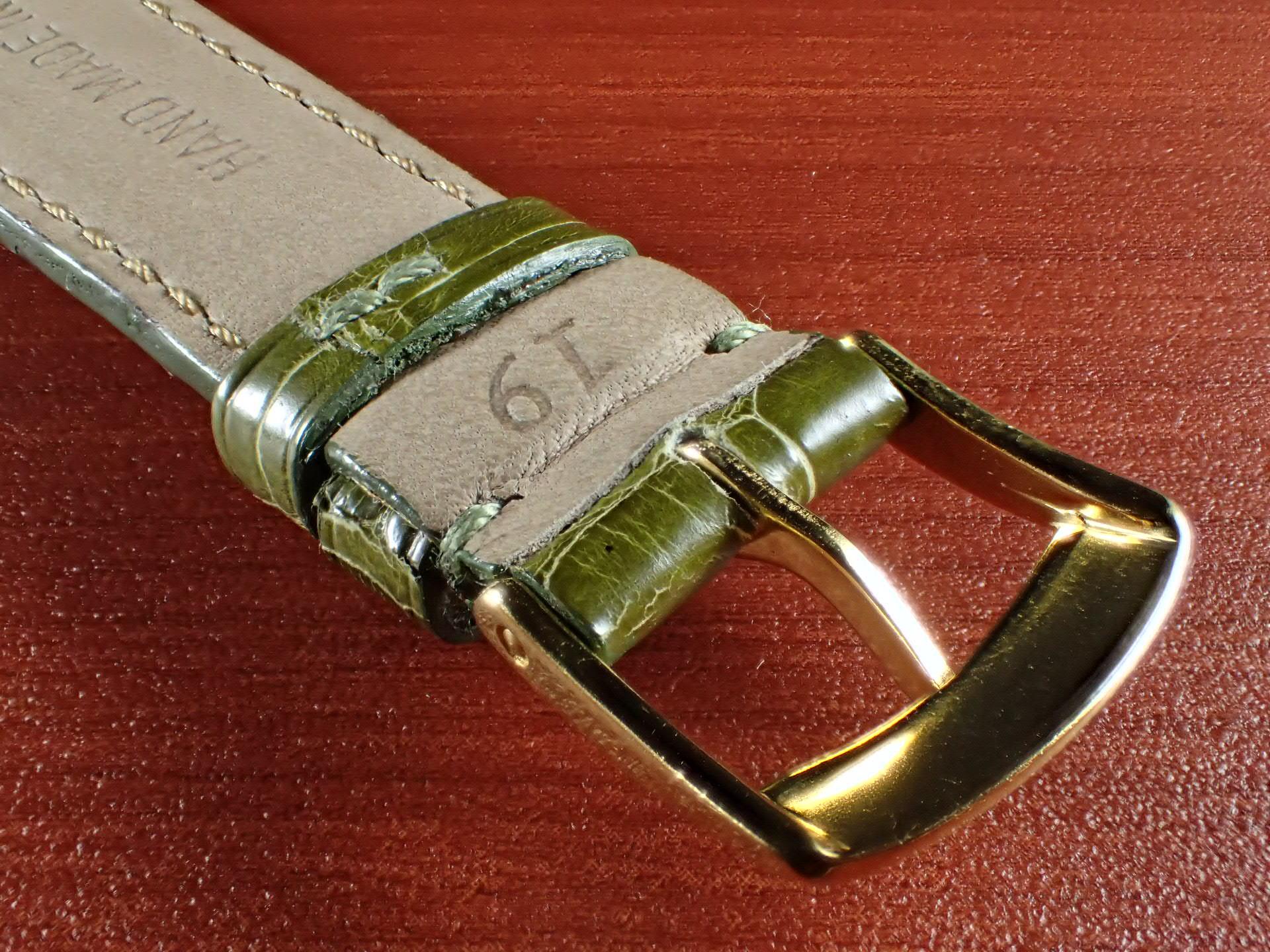 ジャン・クロード ペラン革ベルト(オールドペラン)クロコダイル ライトグリーン 19mmの写真4枚目