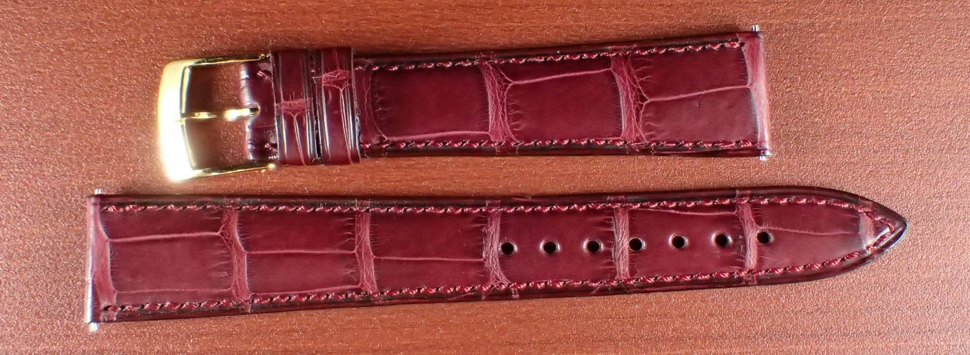 ジャン・クロード ペラン革ベルト(オールドペラン)クロコダイル ボルドー 17mm 手縫い