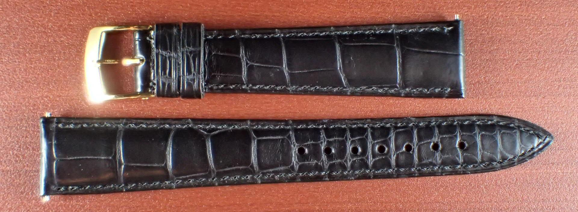 ジャン・クロード ペラン革ベルト(オールドペラン)クロコダイル ブラック 17mm 手縫い