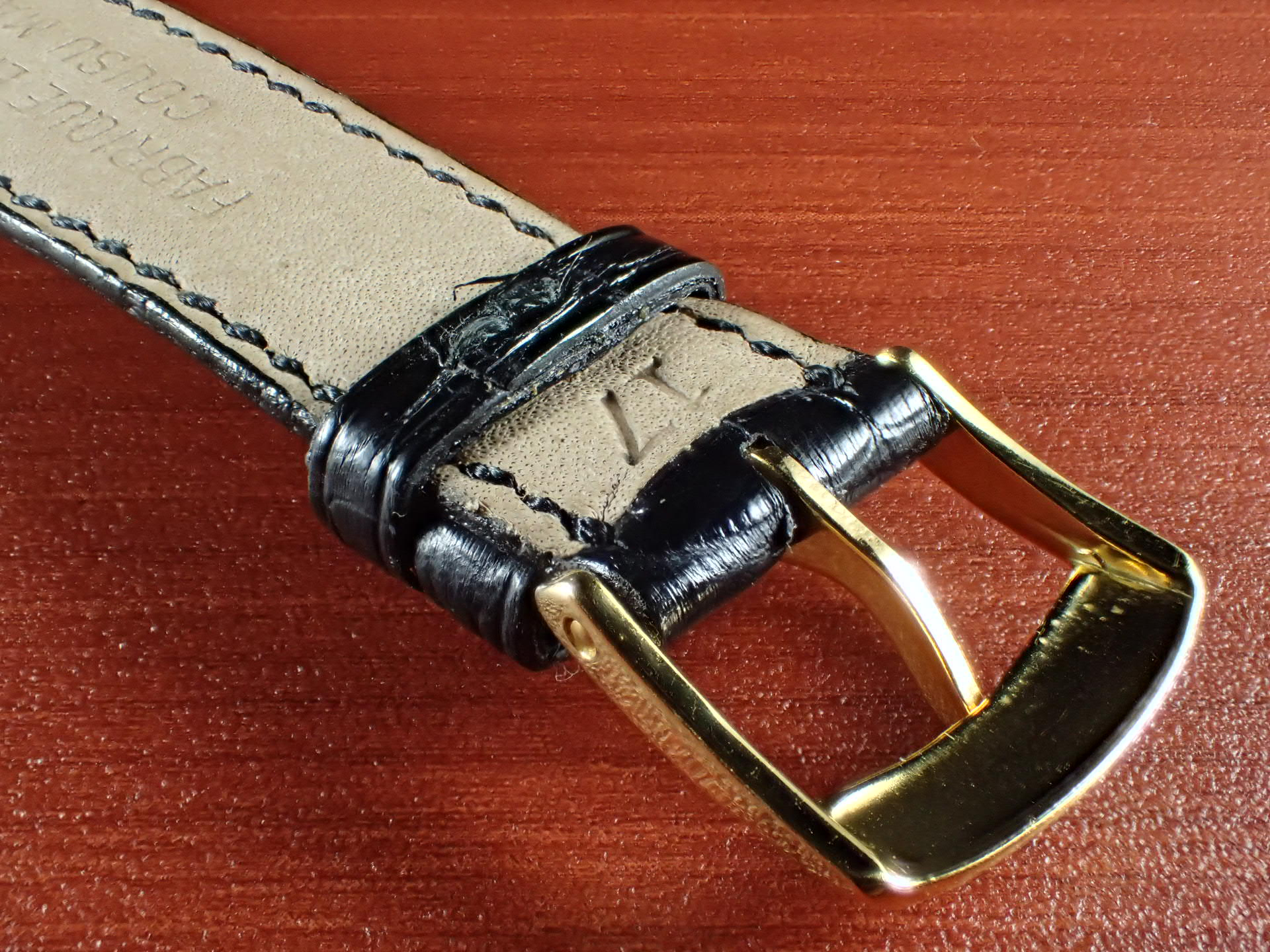 ジャン・クロード ペラン革ベルト(オールドペラン)クロコダイル ブラック 17mm 手縫いの写真4枚目
