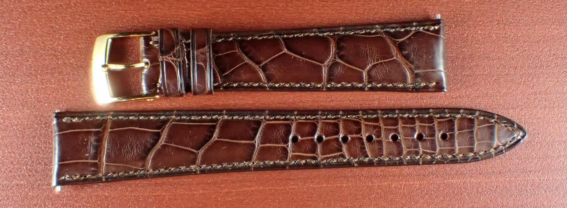 ジャン・クロード ペラン革ベルト(オールドペラン)クロコダイル ダークブラウン 17mm 手縫い