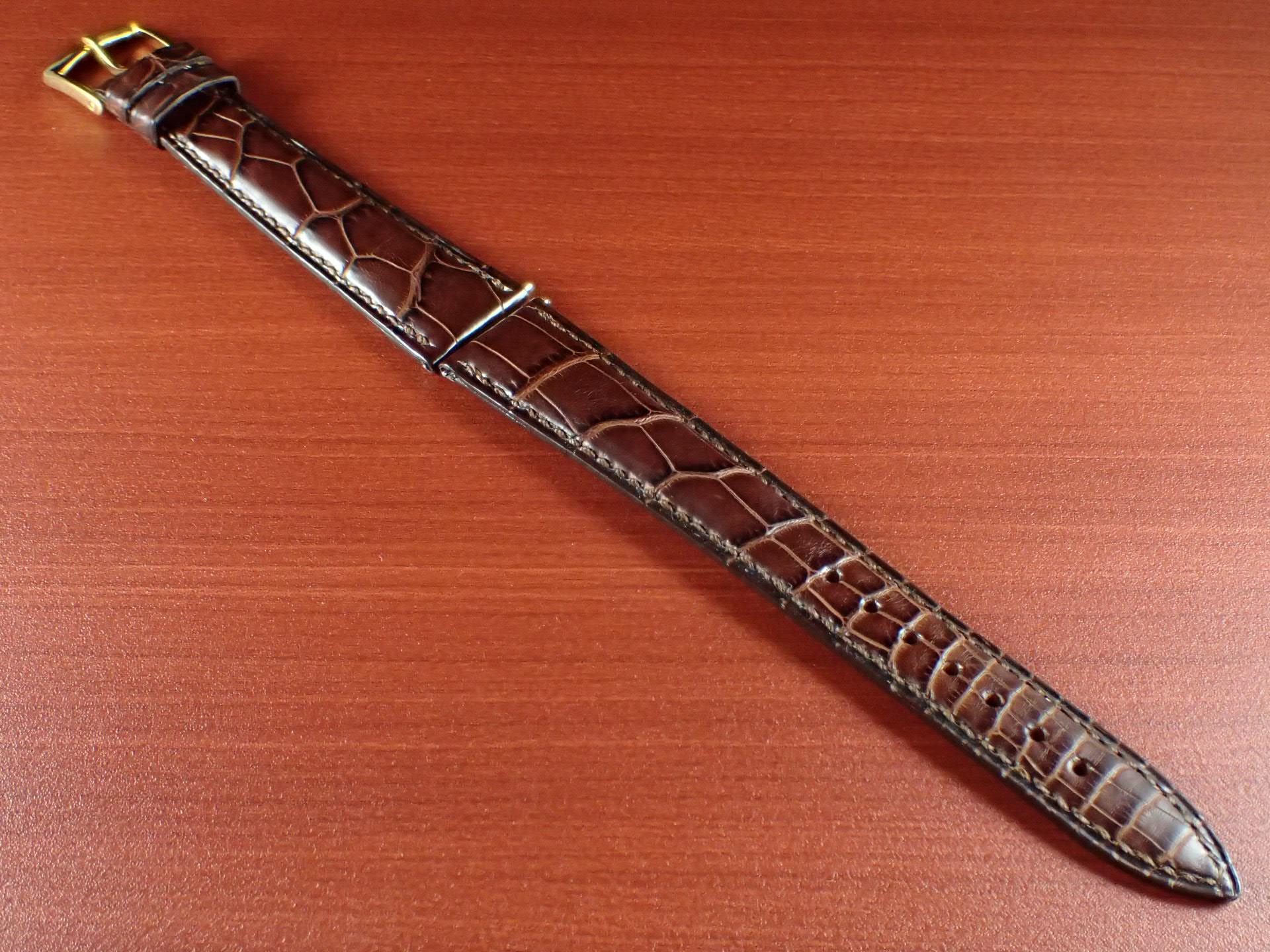 ジャン・クロード ペラン革ベルト(オールドペラン)クロコダイル ダークブラウン 17mm 手縫いのメイン写真