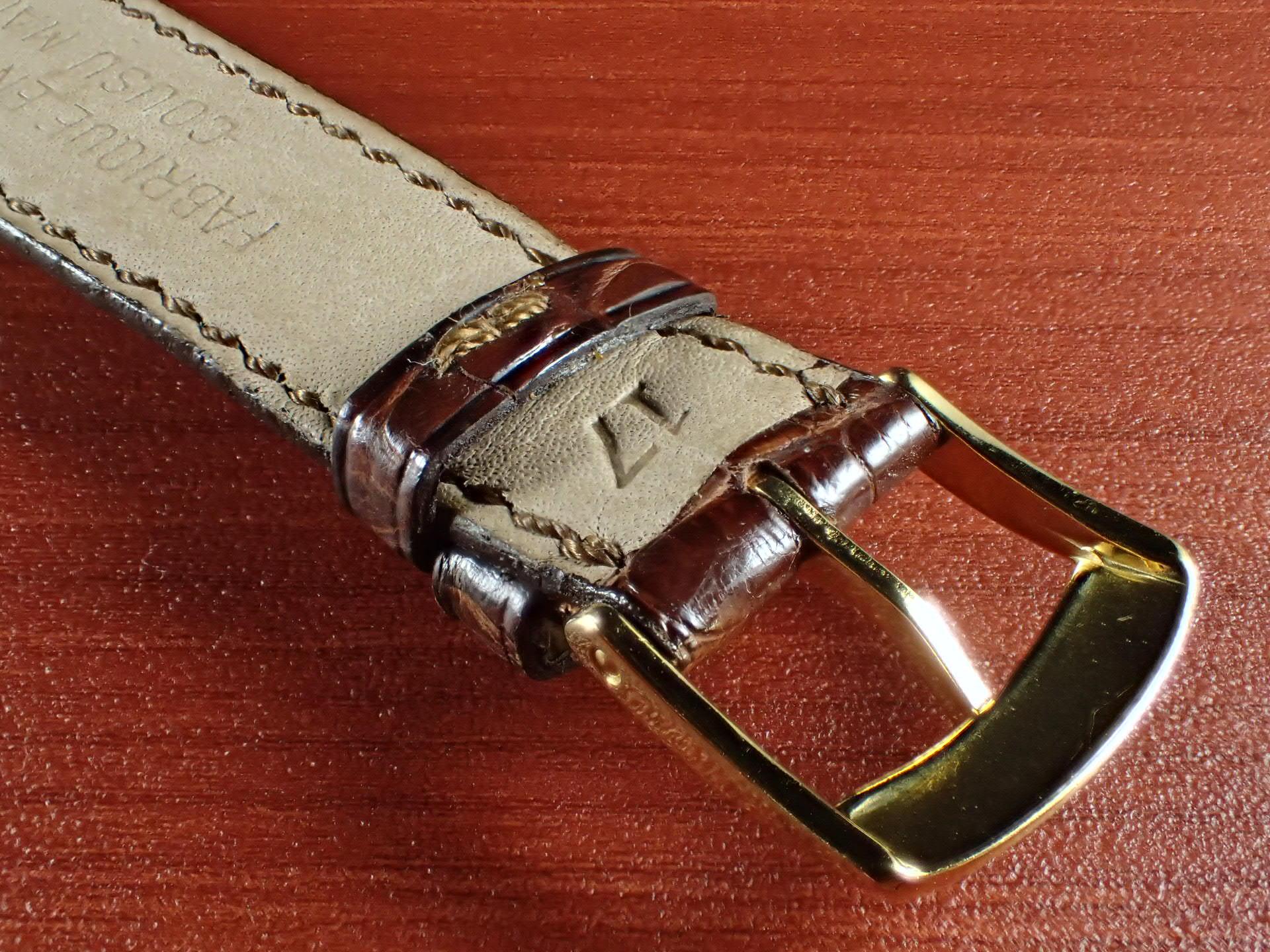 ジャン・クロード ペラン革ベルト(オールドペラン)クロコダイル ダークブラウン 17mm 手縫いの写真4枚目
