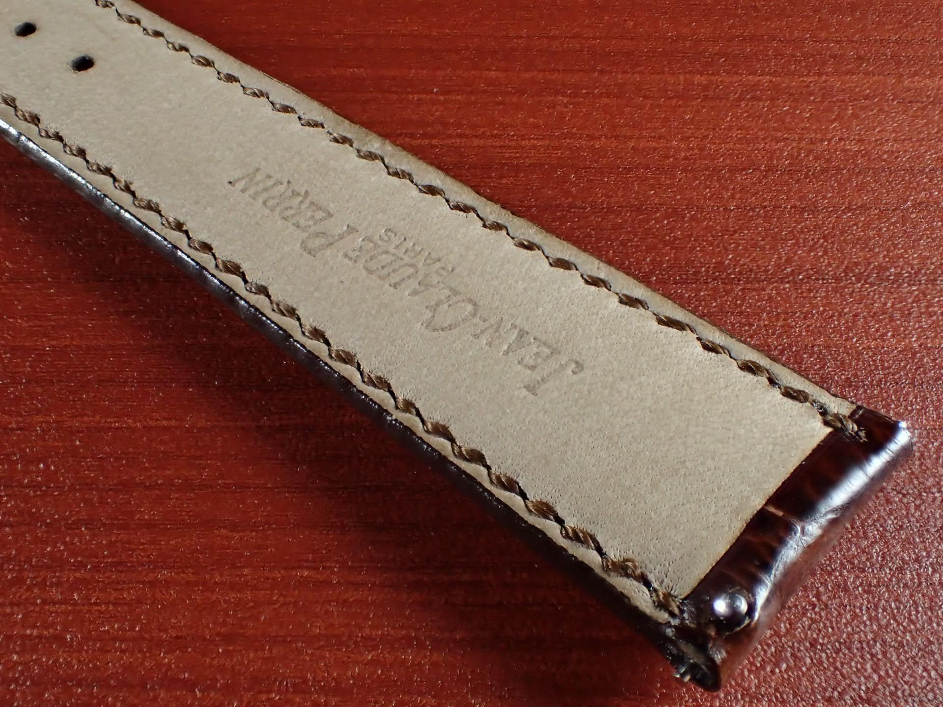 ジャン・クロード ペラン革ベルト(オールドペラン)クロコダイル ダークブラウン 17mm 手縫いの写真6枚目