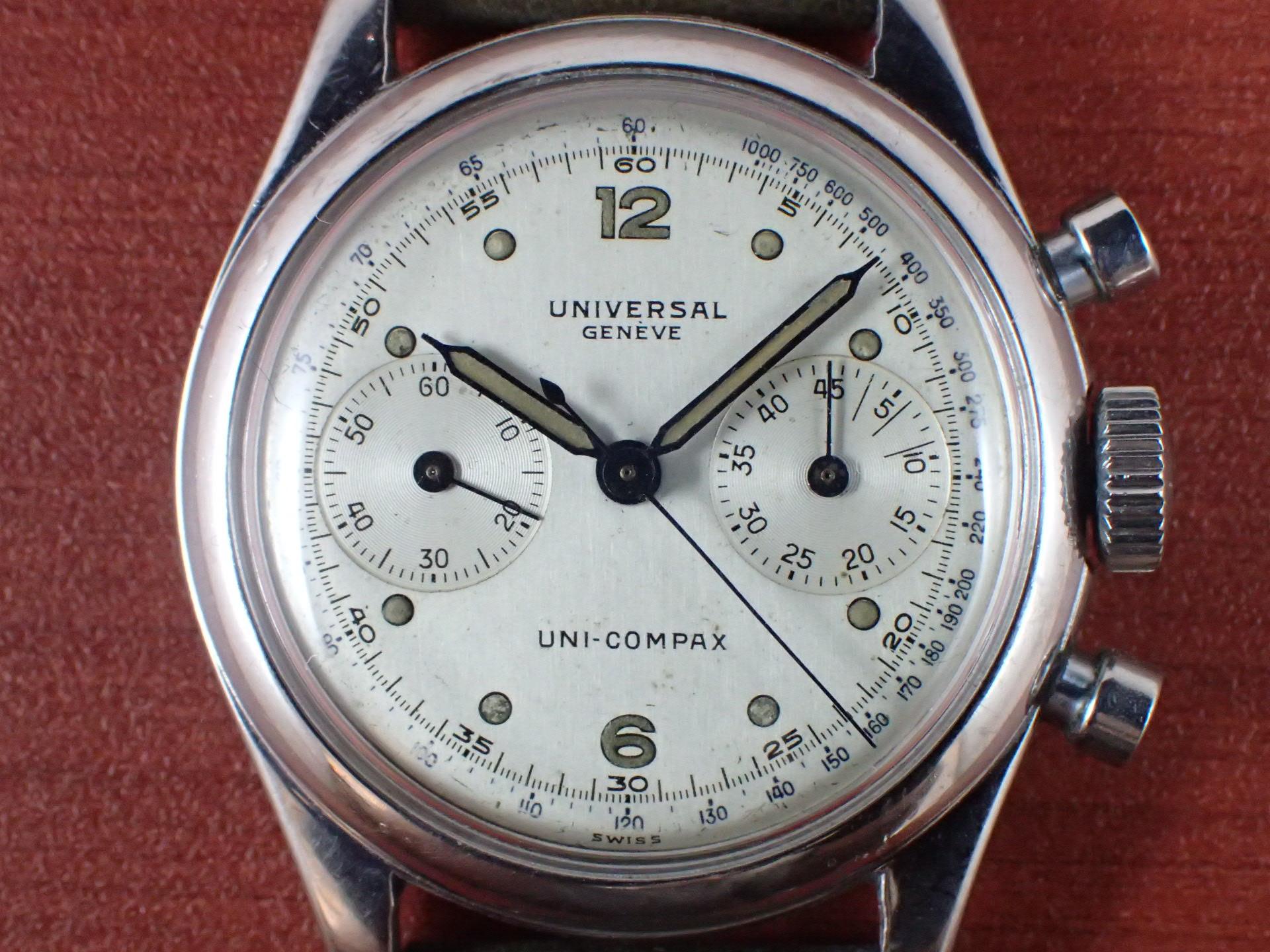 ユニバーサル ユニコンパックス Cal.281 ホワイトダイアル 1940年代の写真2枚目