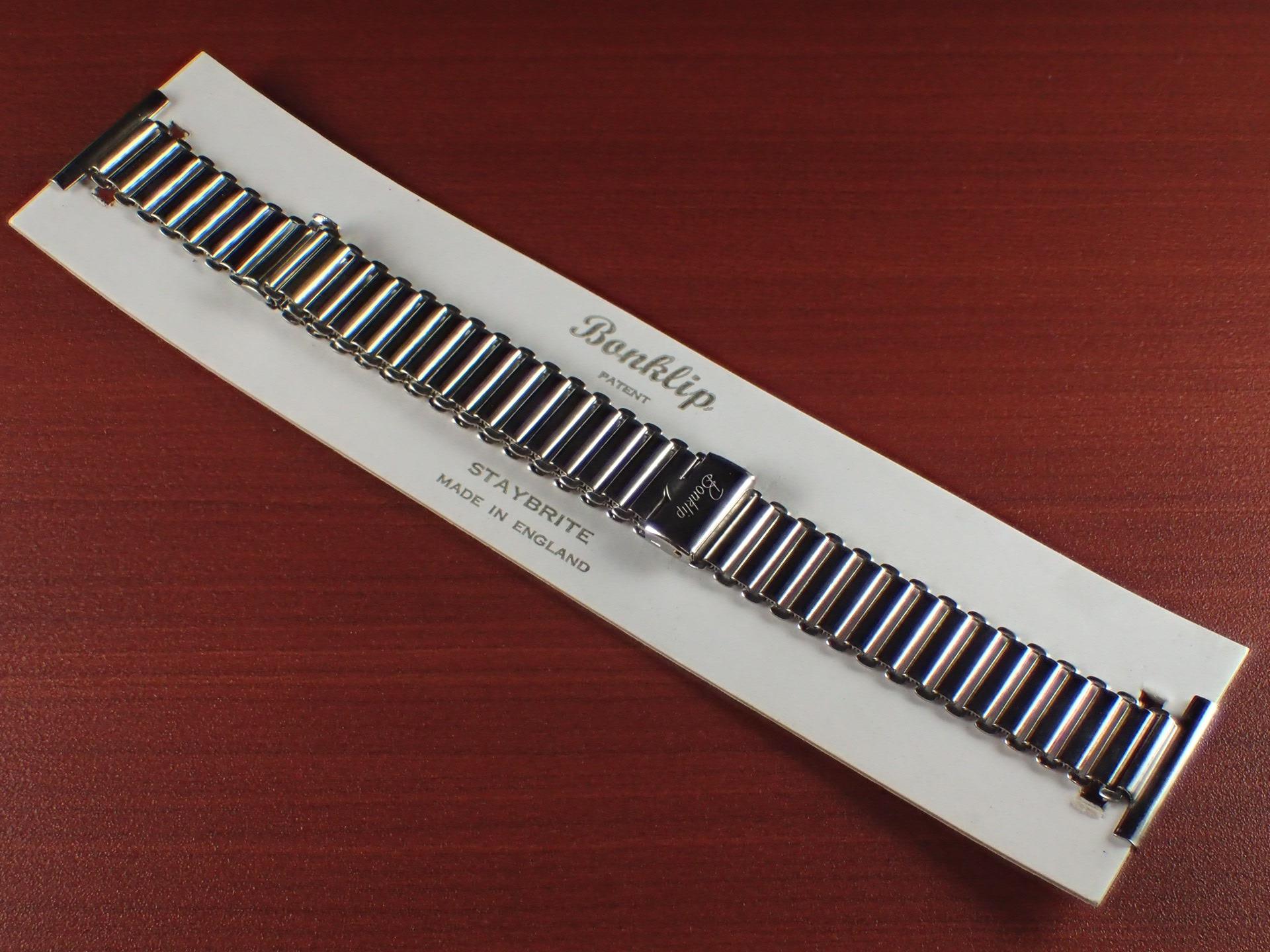 ボンクリップ バンブーブレス NOS 筆記体ロゴ リンク13mm 取付幅20mm SS 1940年代のメイン写真