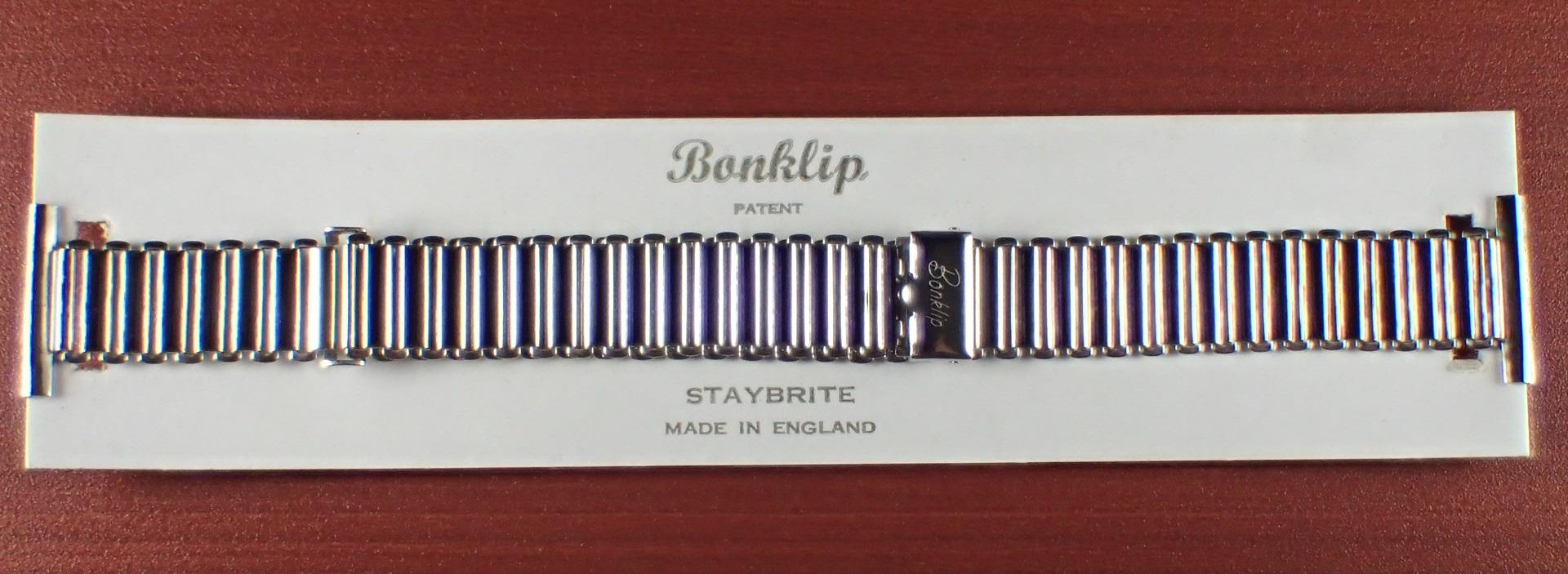 ボンクリップ バンブーブレス NOS 筆記体ロゴ リンク13mm 取付幅20mm SS 1940年代