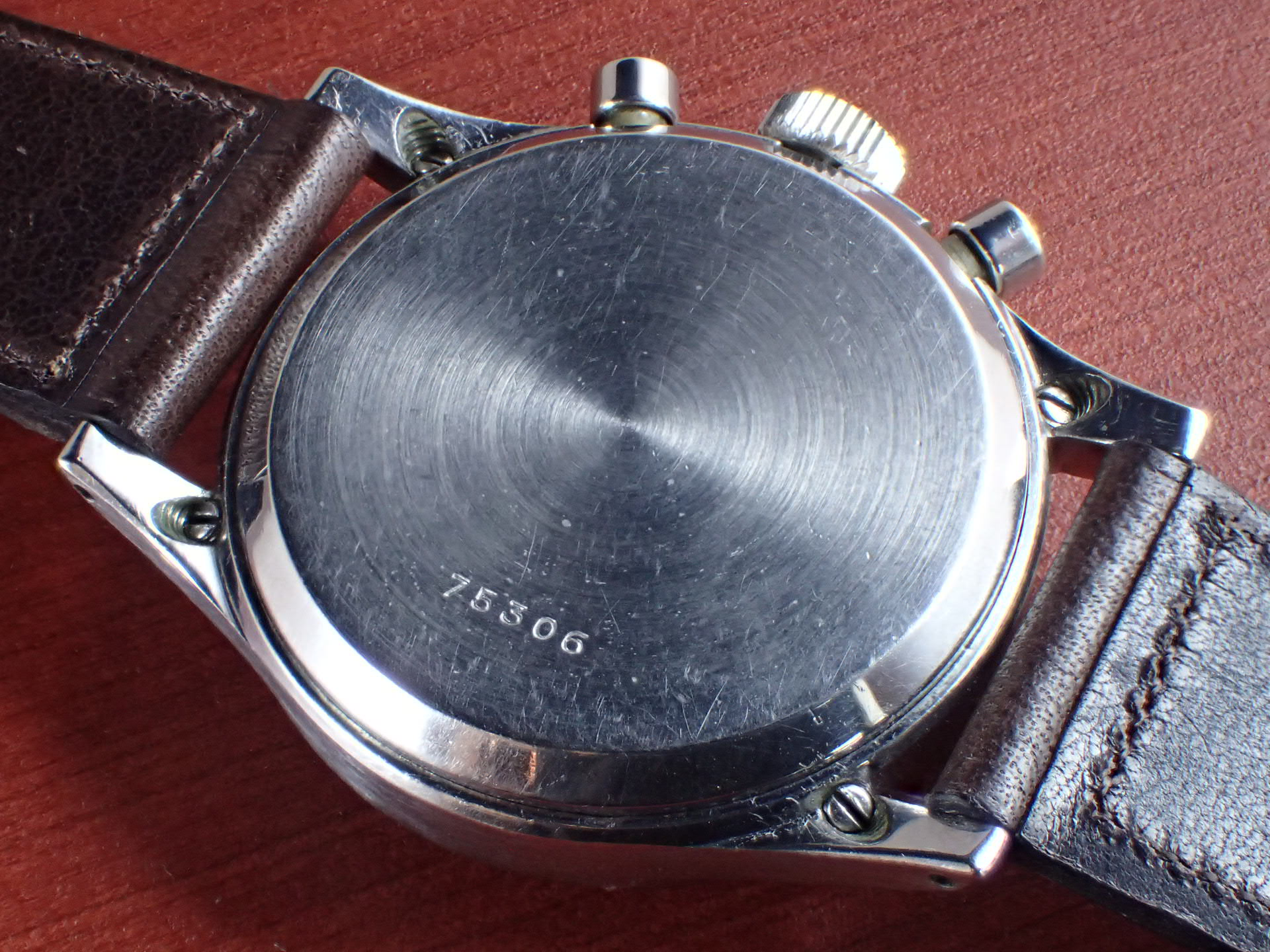 ギャレット マルチクロン クラムシェルケース ブラックダイアル 1940年代の写真4枚目