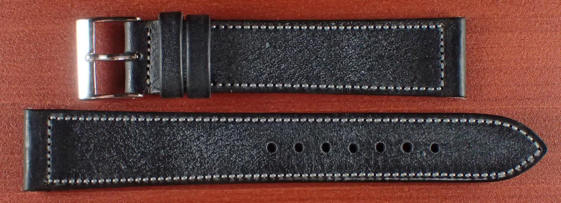 ブライドルレザーベルト ラ・ペルラ・アッズーラ アラスカ ブラック 16、17、18、19、20mm