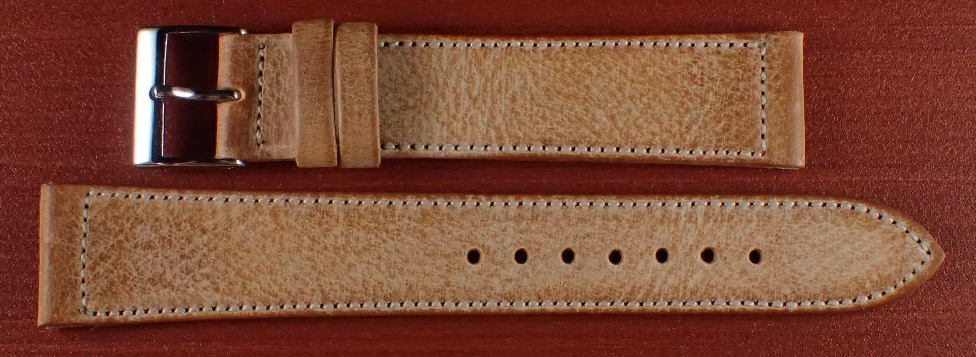 ブライドルレザーベルト ラ・ペルラ・アッズーラ アラスカ ブラウン 16、17、18、19、20mm
