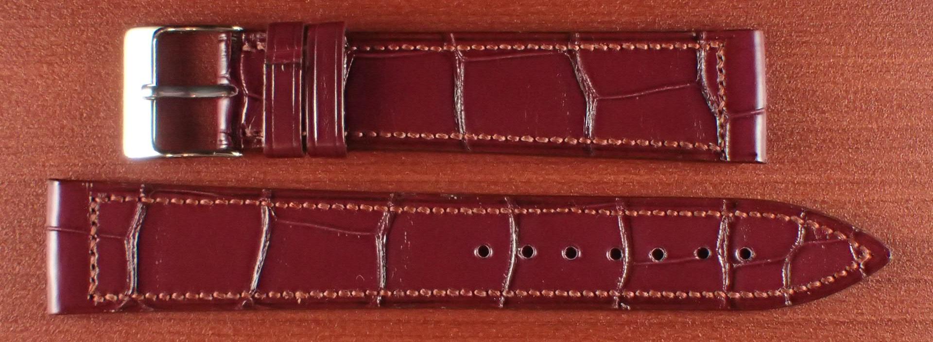 ジャン・クロード ペラン革ベルト クロコダイル ボルドー 18mm