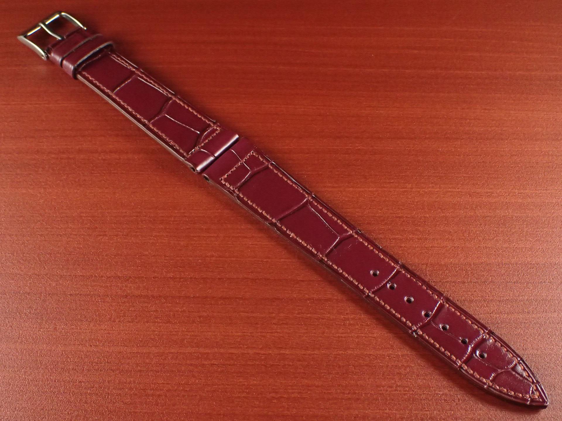 ジャン・クロード ペラン革ベルト クロコダイル ボルドー 18mmのメイン写真