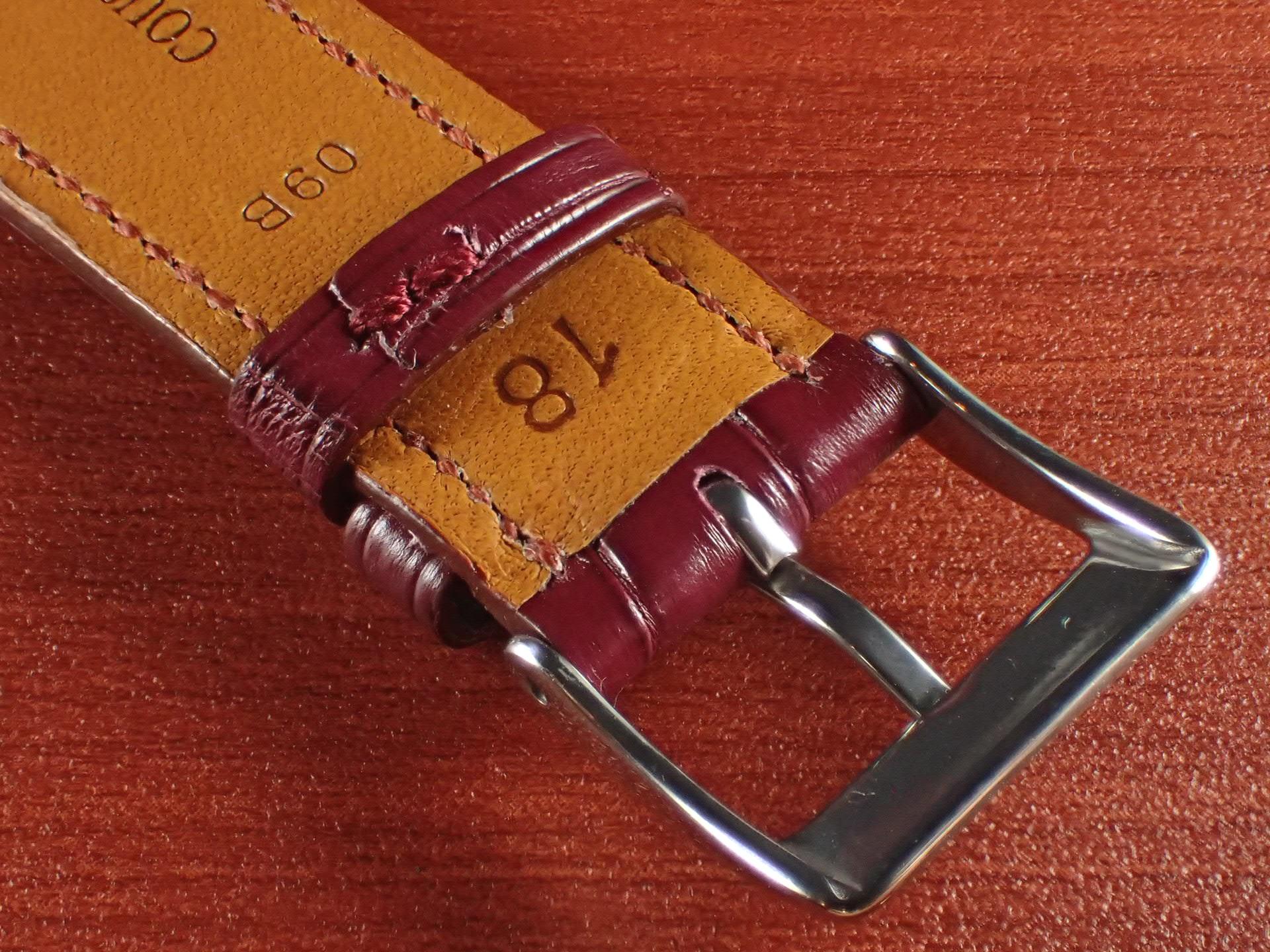 ジャン・クロード ペラン革ベルト クロコダイル ボルドー 18mmの写真4枚目