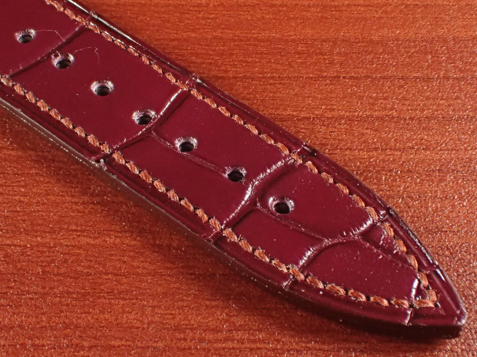 ジャン・クロード ペラン革ベルト クロコダイル ボルドー 18mmの写真5枚目