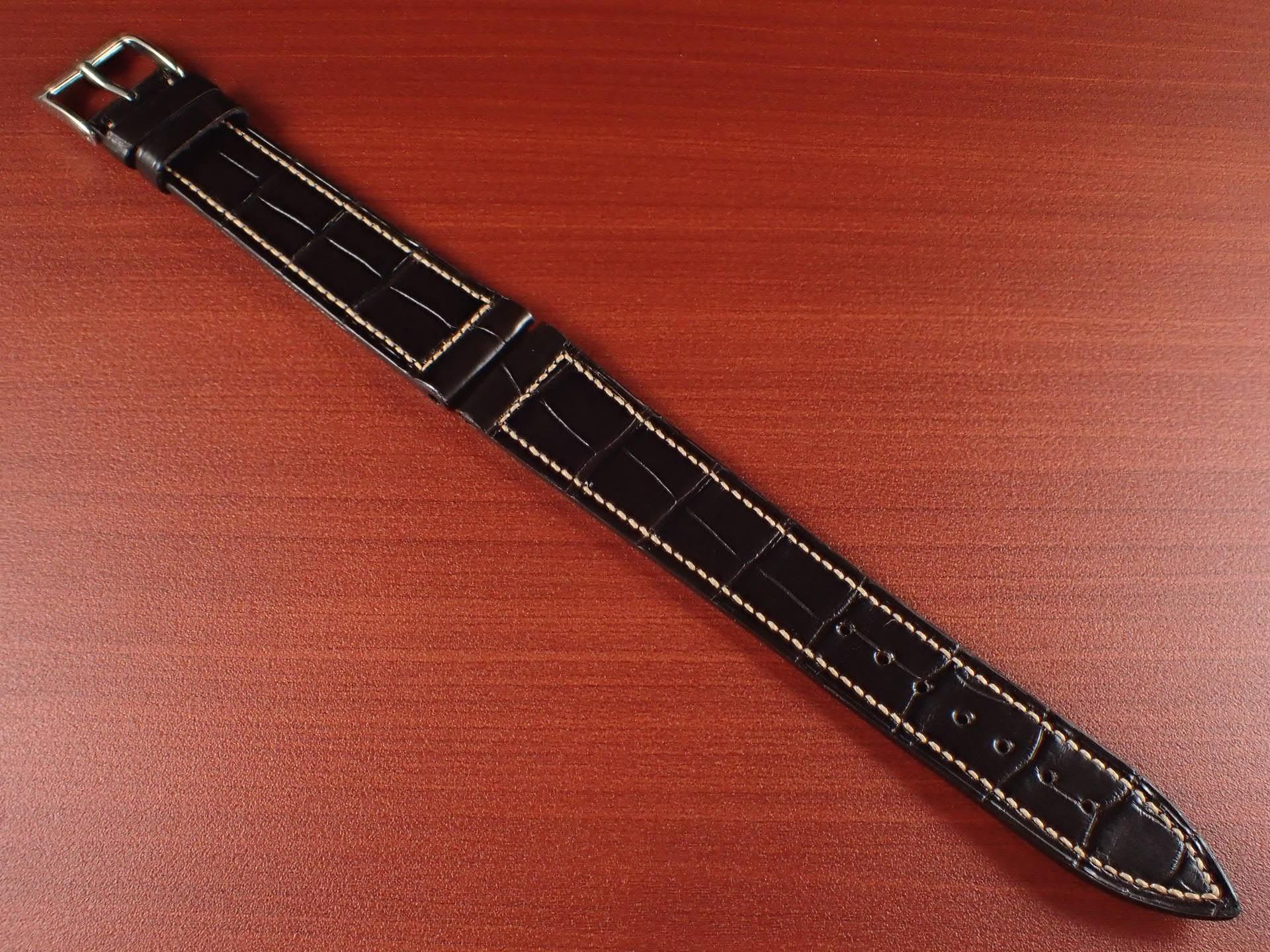ジャン・クロード ペラン革ベルト クロコダイル チョコレート 18mmのメイン写真