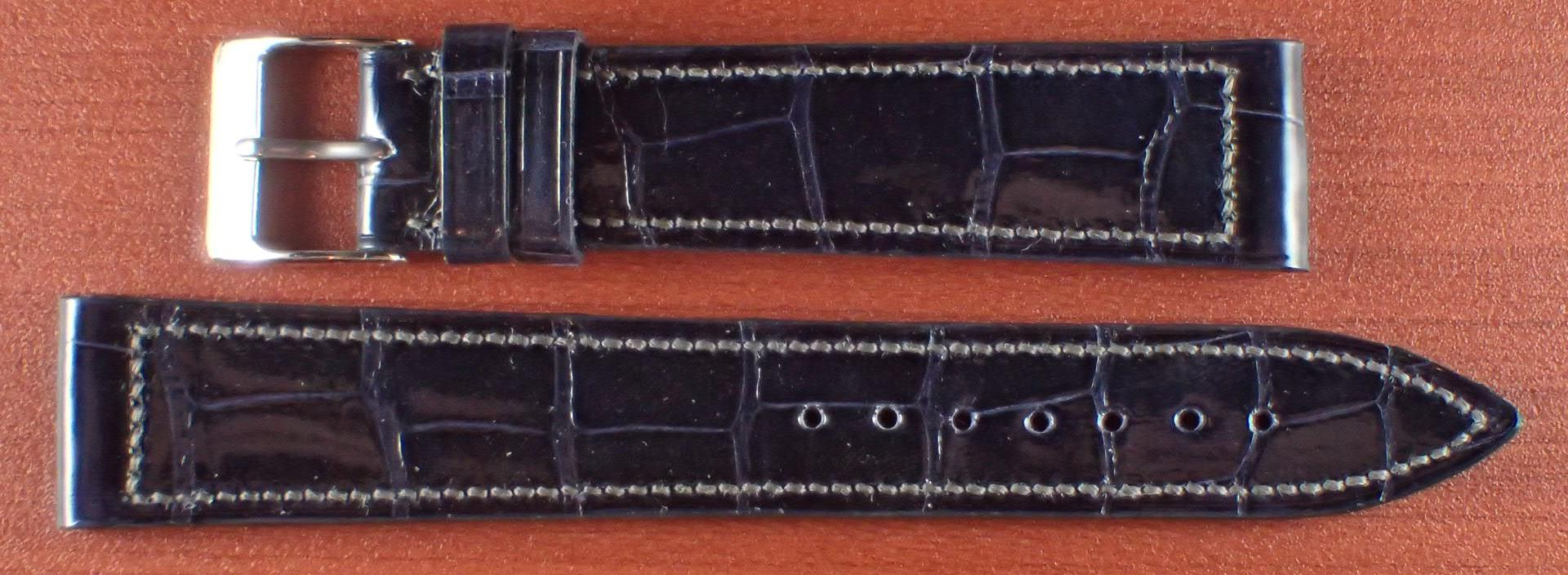 ジャン・クロード ペラン革ベルト クロコダイル ネイビー(シャイニー)18mm