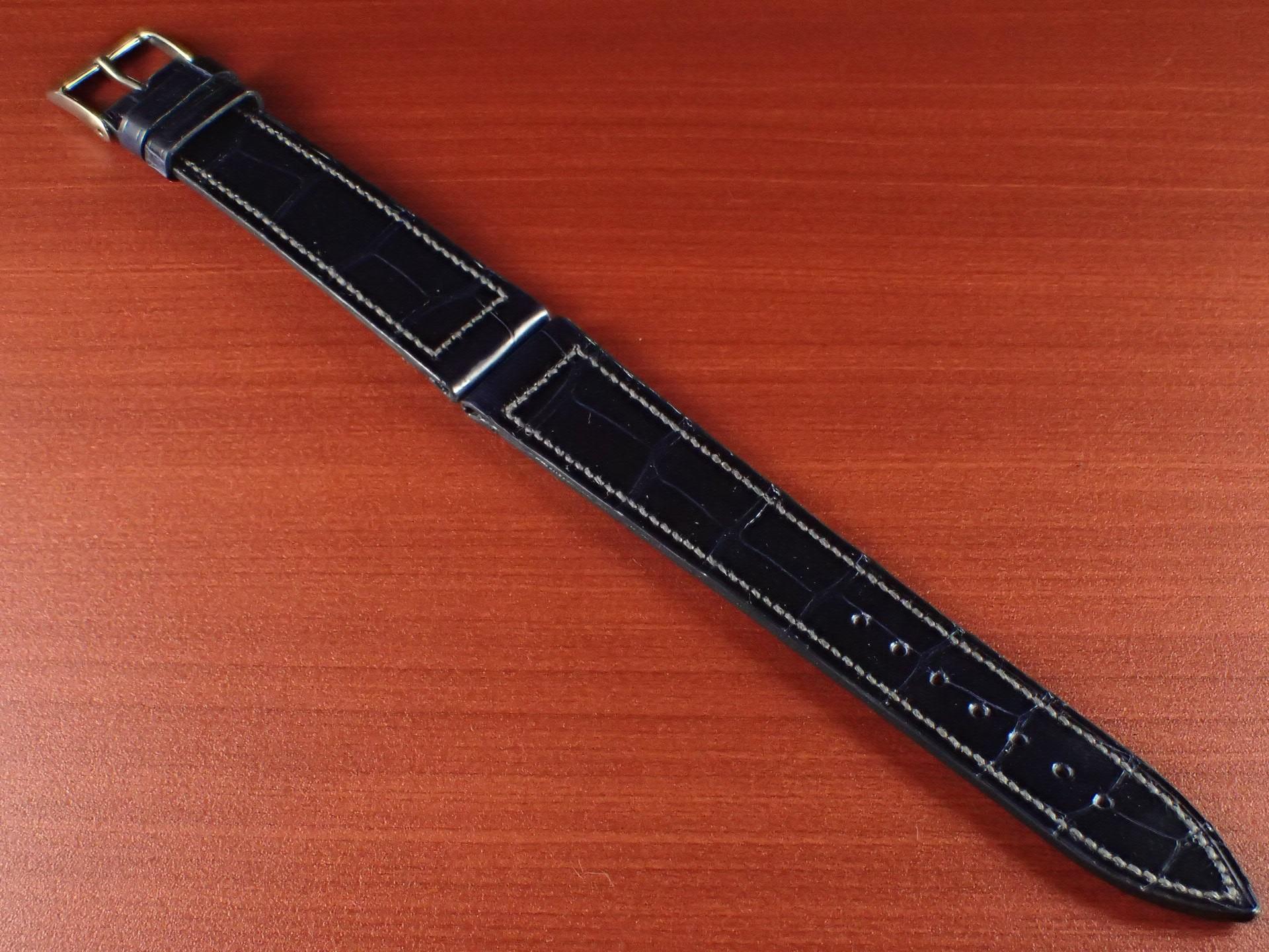 ジャン・クロード ペラン革ベルト クロコダイル ネイビー(シャイニー)18mmのメイン写真