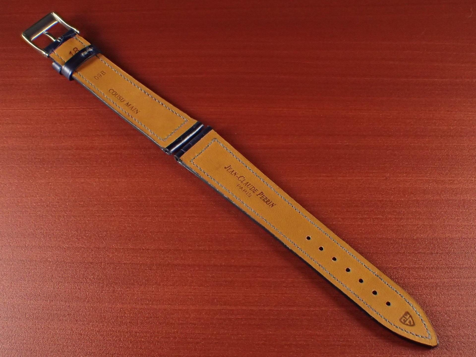 ジャン・クロード ペラン革ベルト クロコダイル ネイビー(シャイニー)18mmの写真2枚目